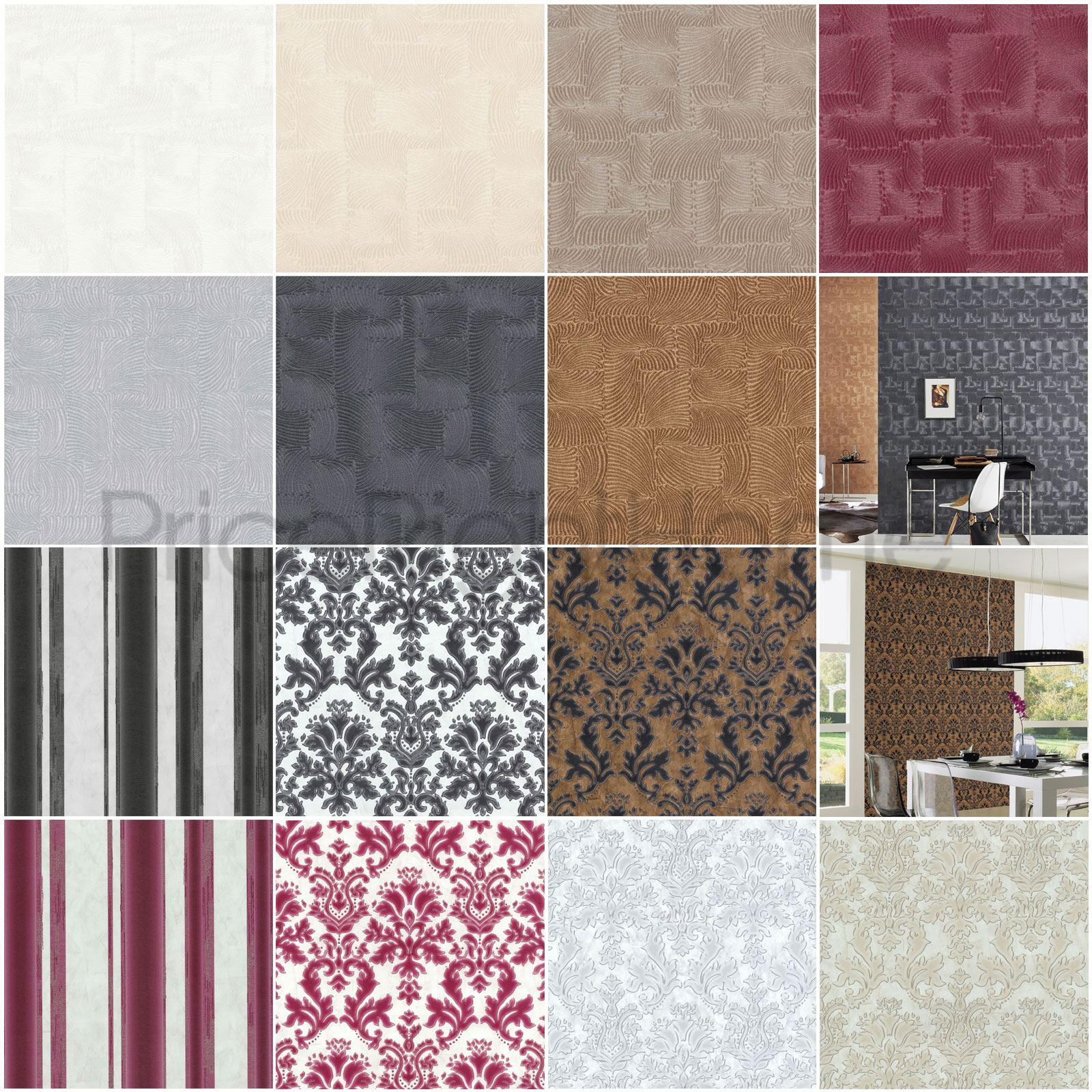 Au Naturelle Vinyl Wallcovering: P&S TEXTURED VINYL DAMASK / STRIPE / FOSSIL WALLPAPER