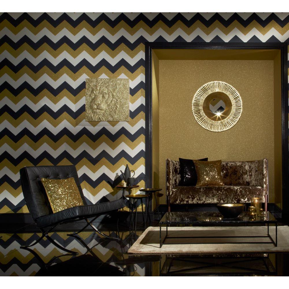 Glitterati chevron wallpaper arthouse feature wall black for Black and gold wallpaper for walls
