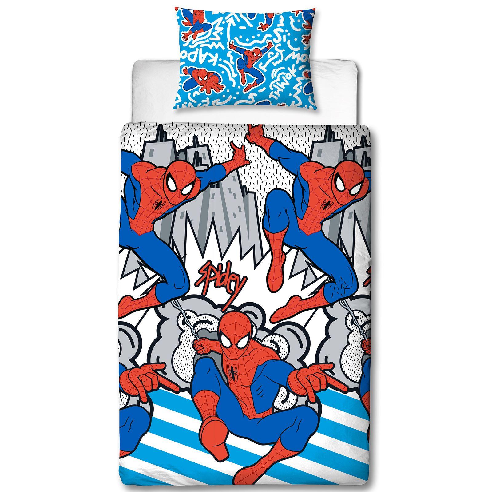 Spiderman Popart Single Duvet Cover Set Boys Kids Bedding