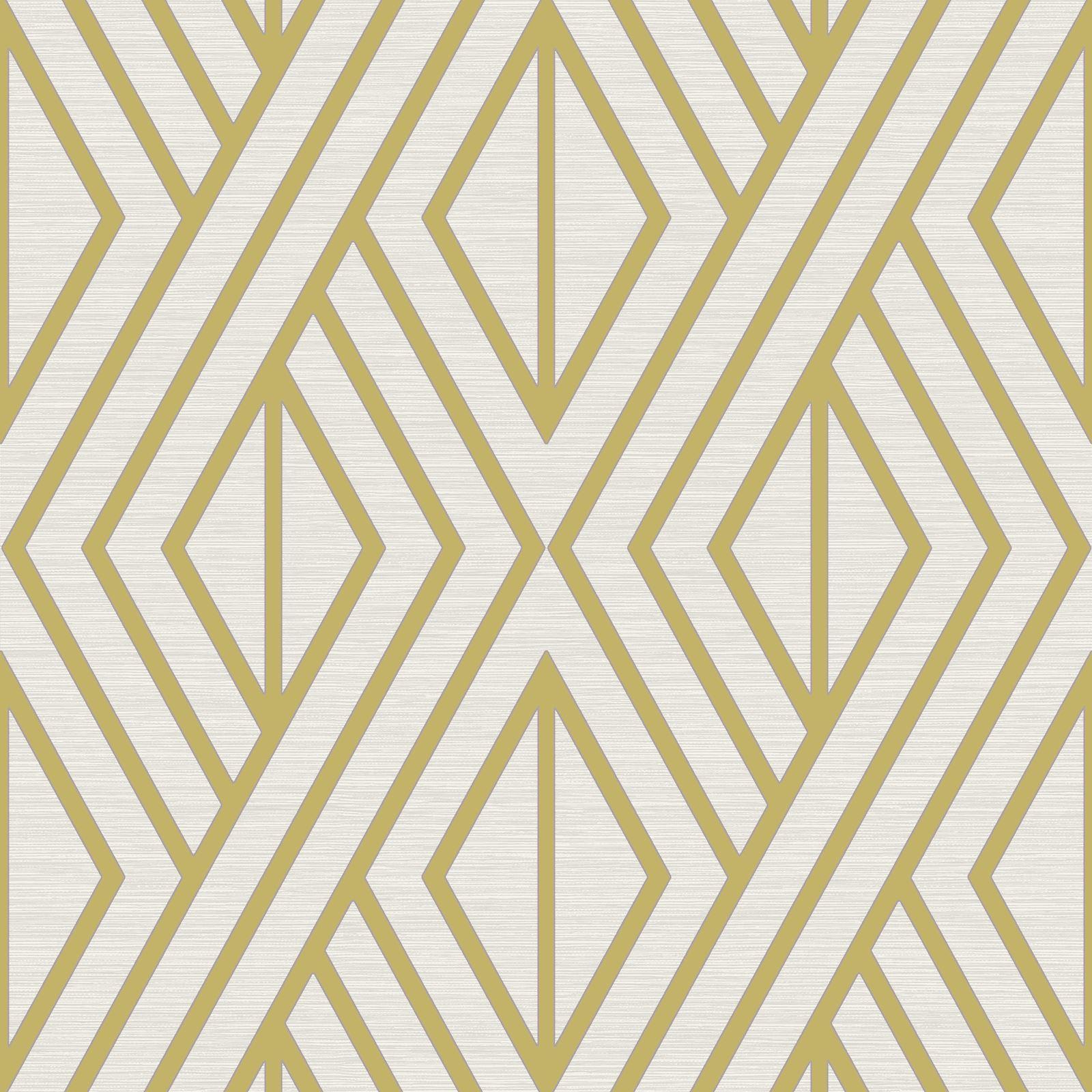 Geometric Wallpaper White Gold Pear Tree Studios