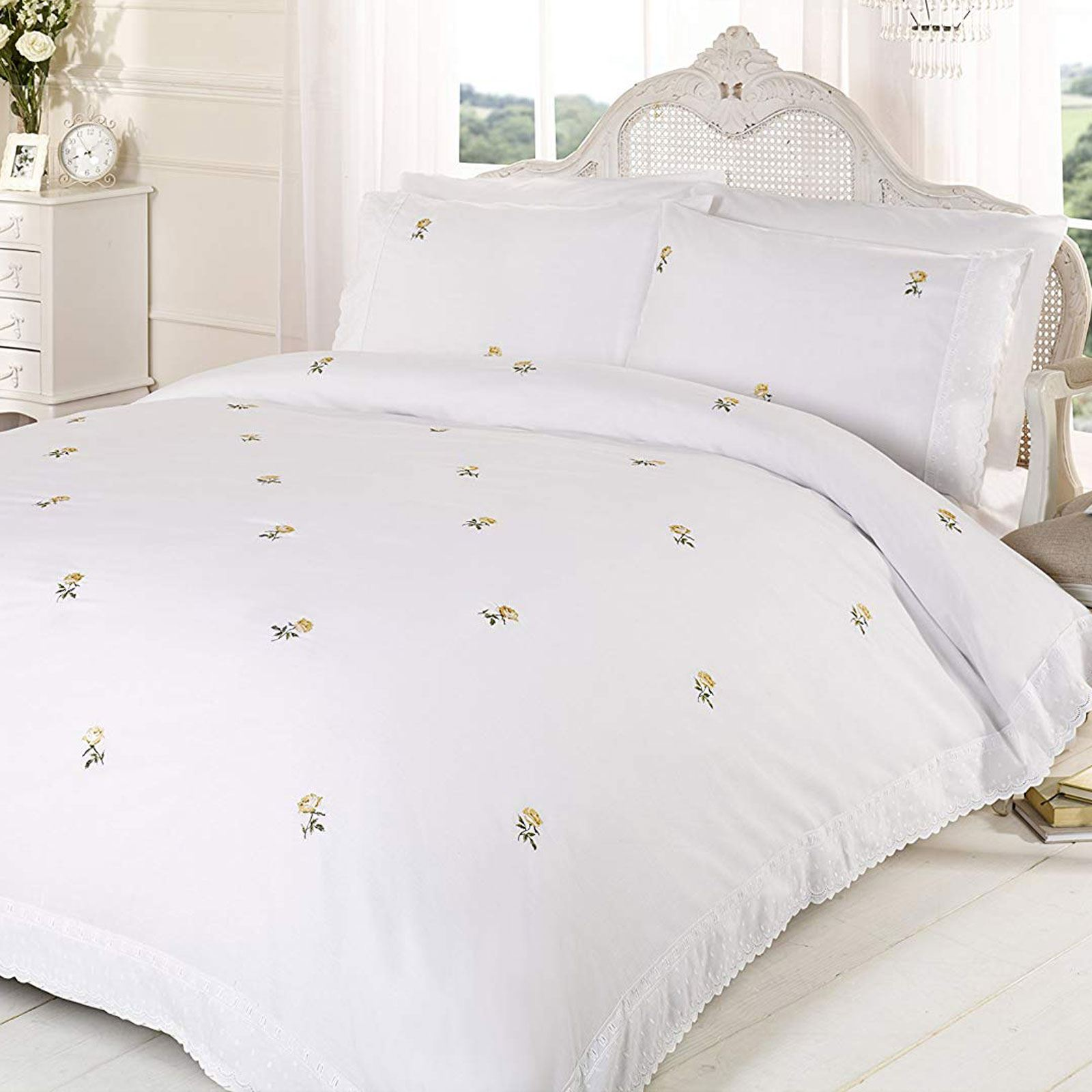 Alicia Floral White Yellow Super King Size Duvet Cover Set Embroidered Bedding Ebay