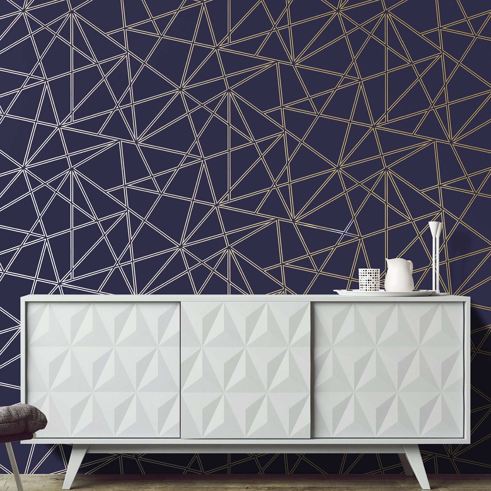 HOLDEN PALADIUM GEOMETRIC WALLPAPER ABSTRACT TRIANGLES METALLIC SILVER ROSE GOLD