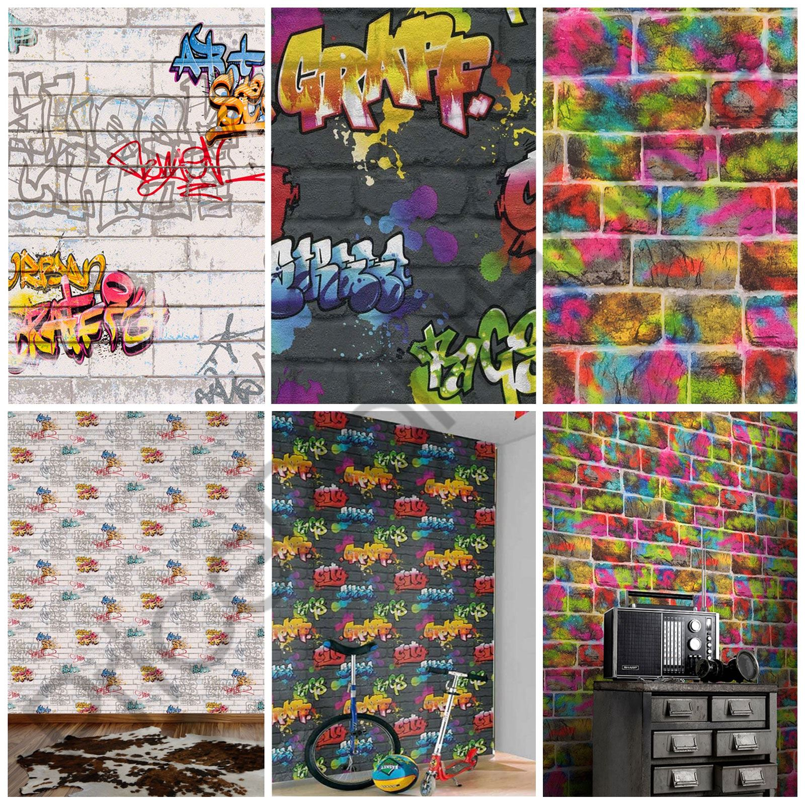 Graffiti Wallpaper White Black Brick As Creation Rasch