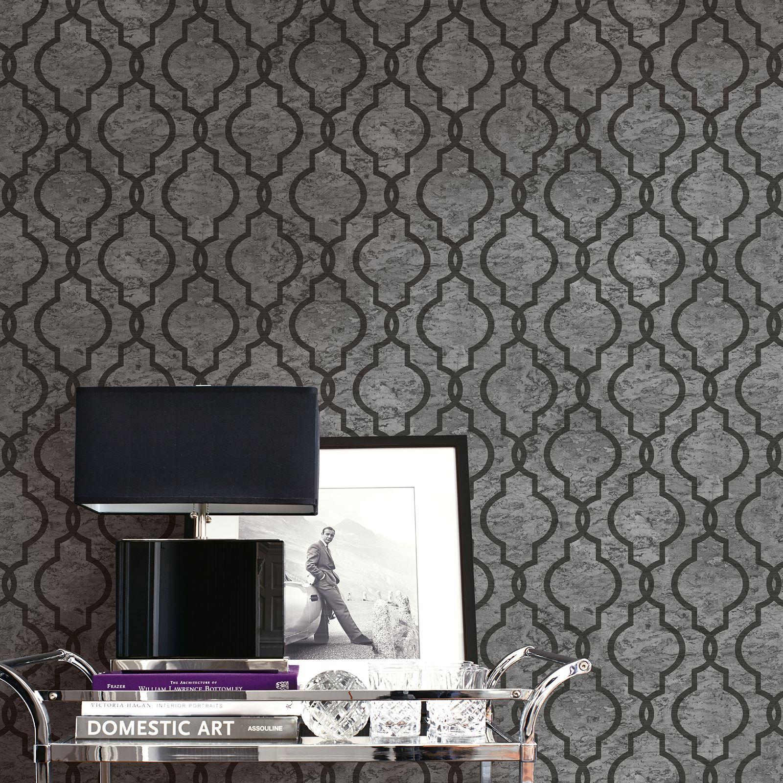 Trellis Wallpaper For Walls: CORK GEO TRELLIS WALLPAPER ASH GREY PEAR TREE UK20920