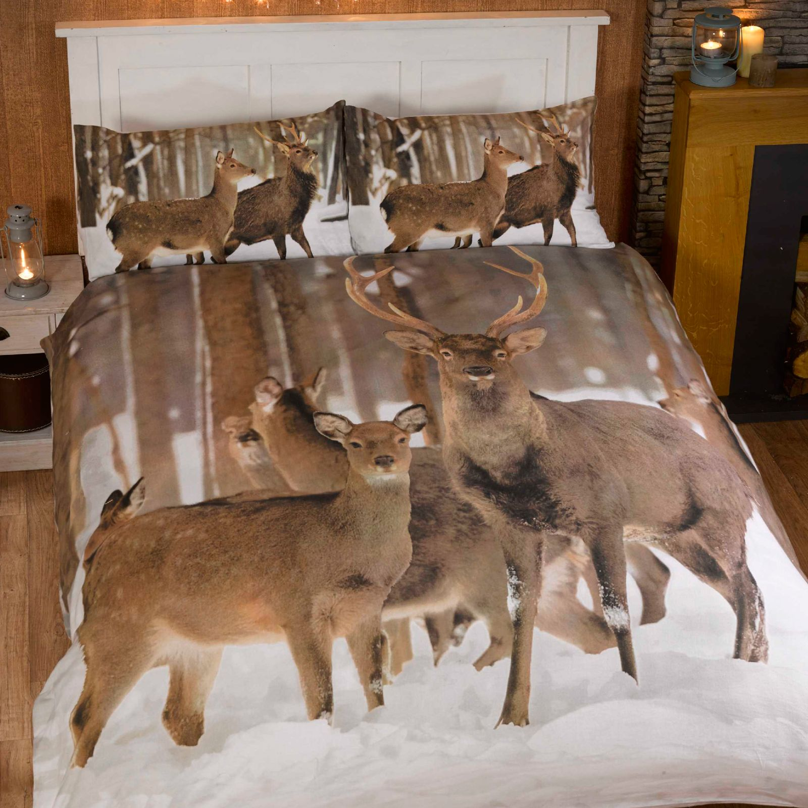 hiver cerf double jeu de housse et taie d 39 oreiller couette animal faune literie ebay. Black Bedroom Furniture Sets. Home Design Ideas