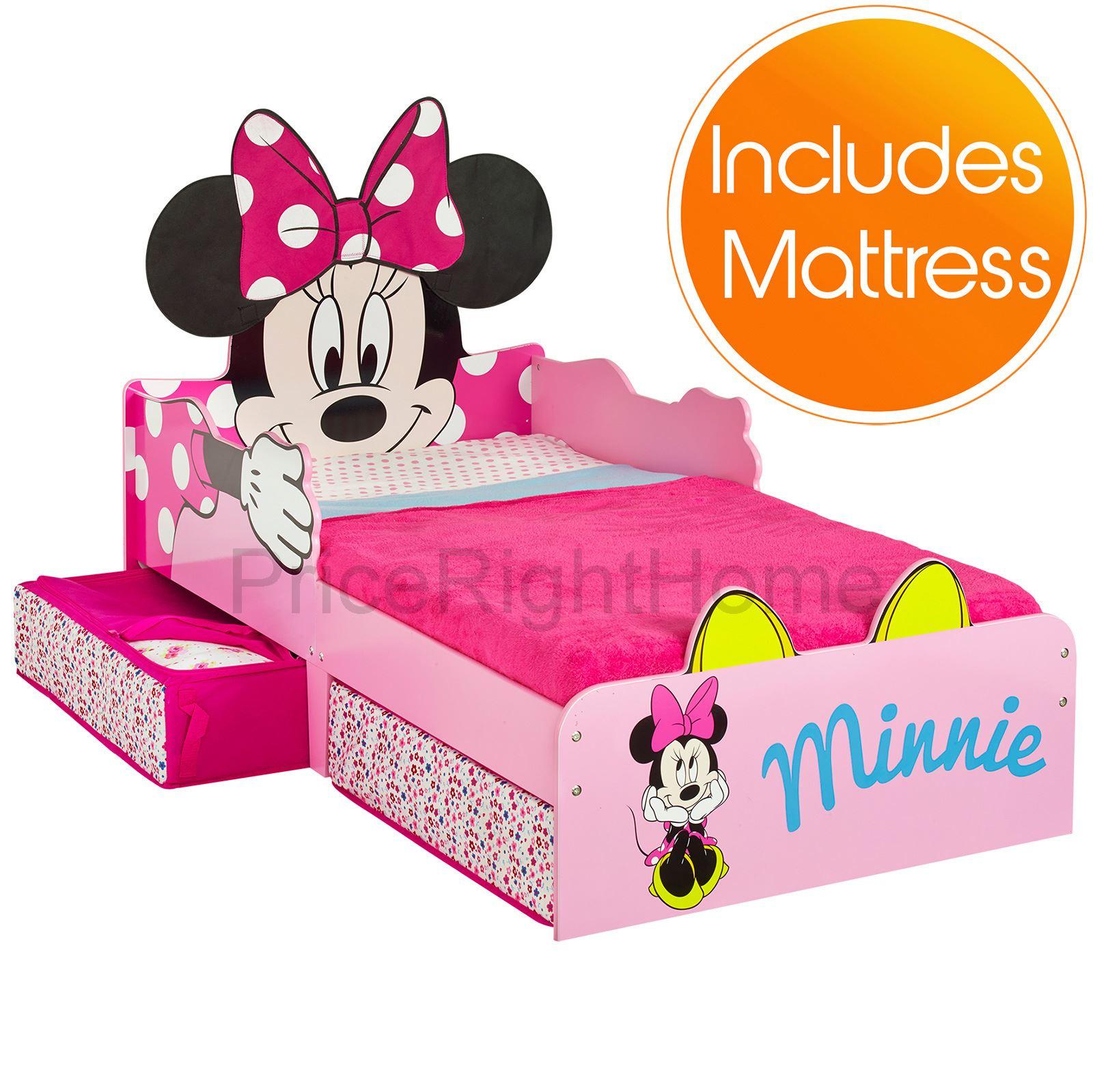 minnie mouse mdf kleinkind bett mit lager neue matratze ebay. Black Bedroom Furniture Sets. Home Design Ideas