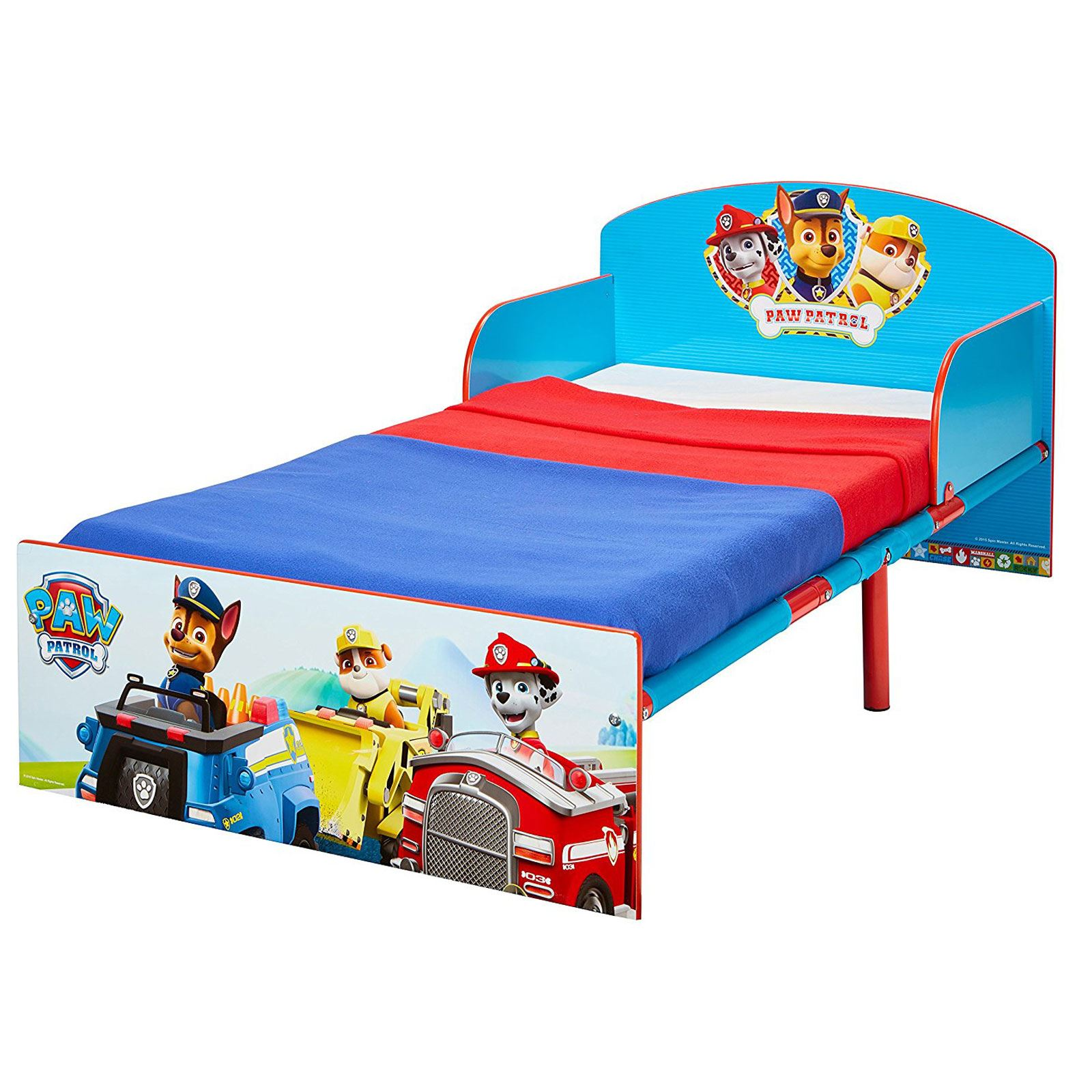OFFICIAL PAW PATROL TODDLER BED WITH DELUXE FOAM MATTRESS FREE P NEW