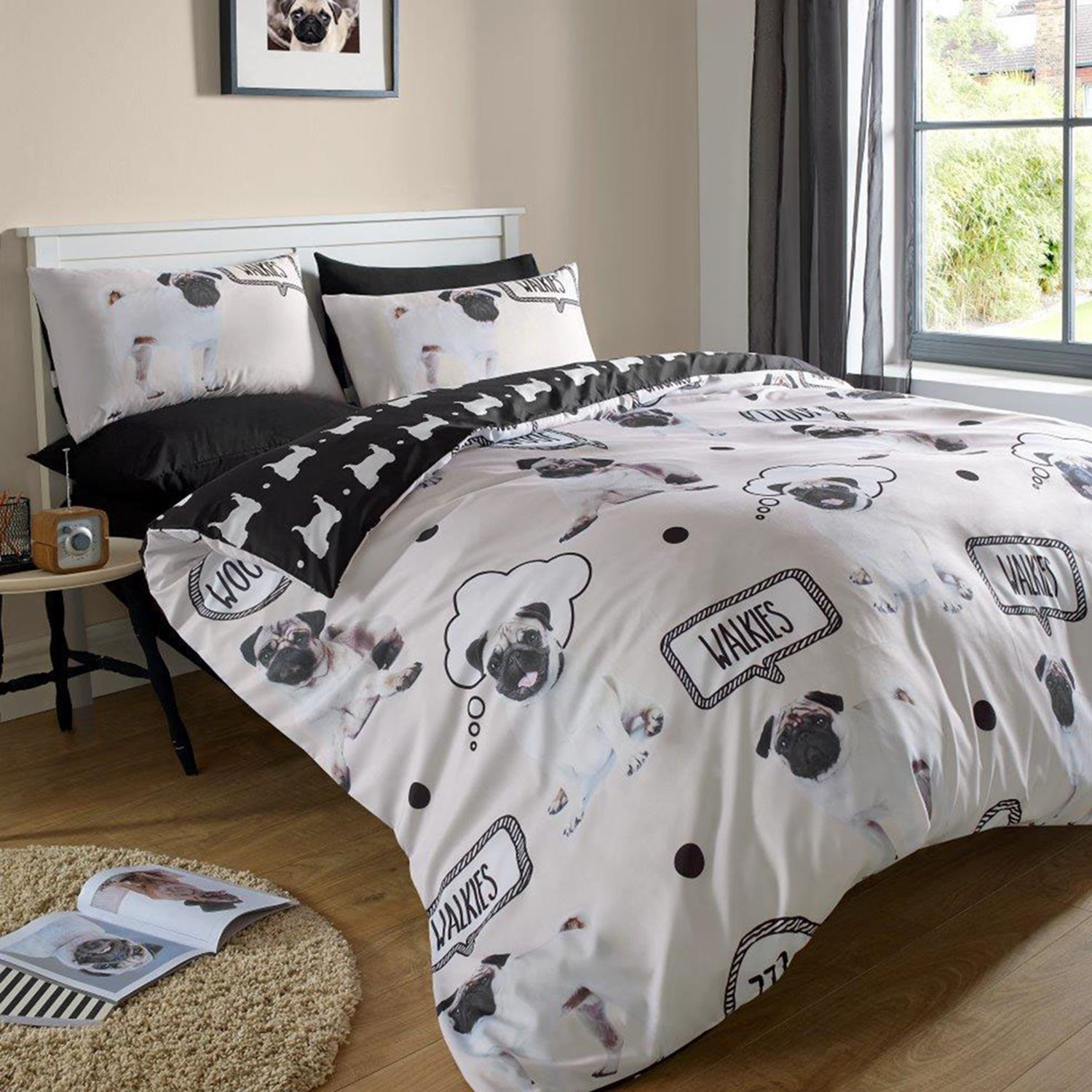 dreamscene king duvet cover sets adult bedding sets pugs floral  - dreamscenekingduvetcoversetsadultbeddingsets