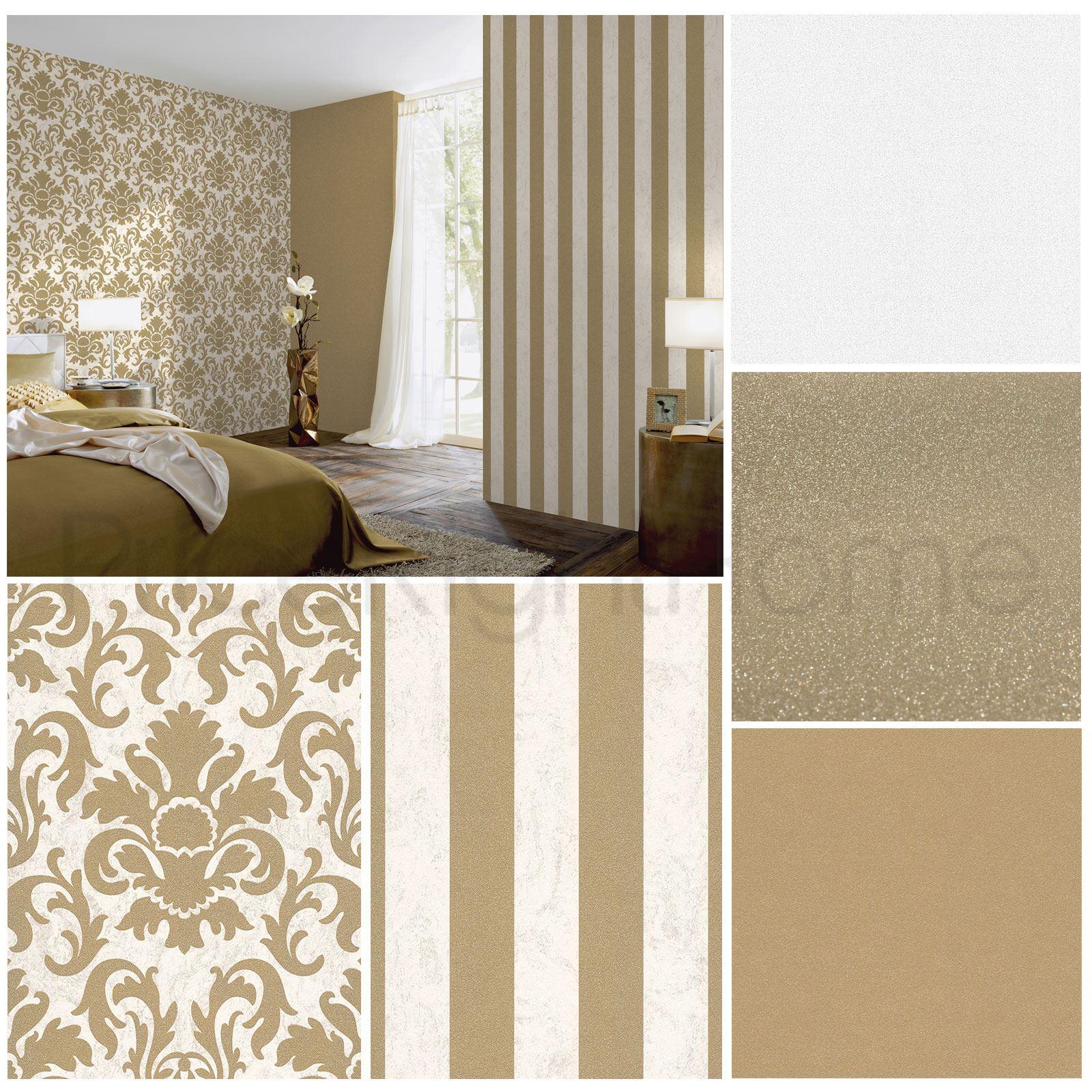 P s quilates blanco y dorado con purpurina papel pintado for Papel pintado marron y dorado