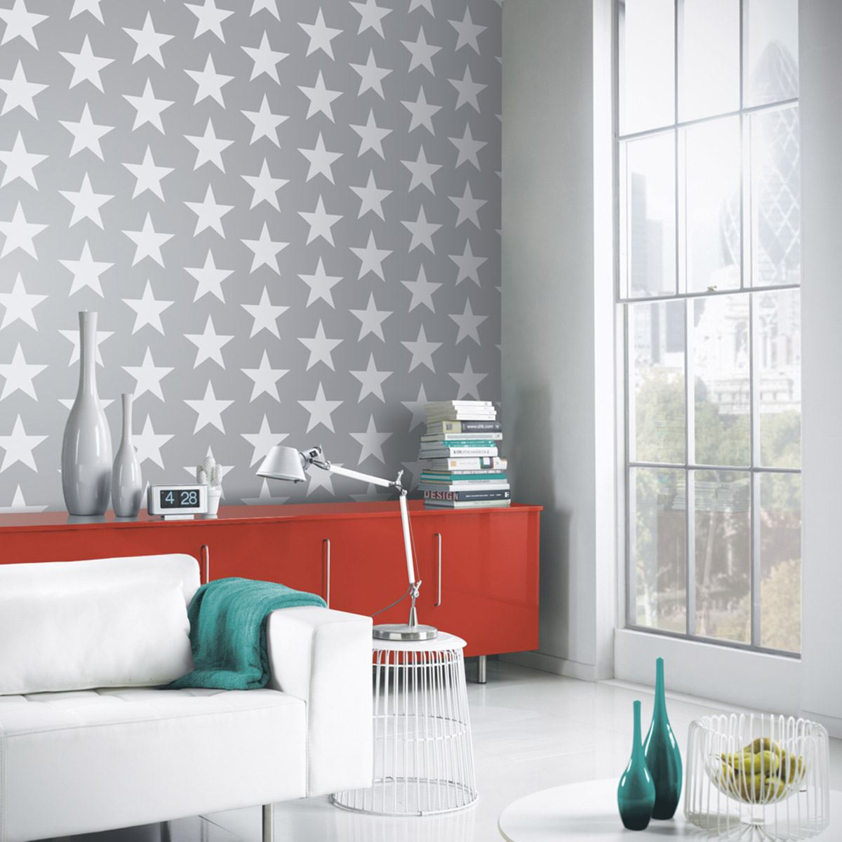 GREY WALLPAPER PATTERNED STARS FLORAL FEATHERS TREES MARBLE