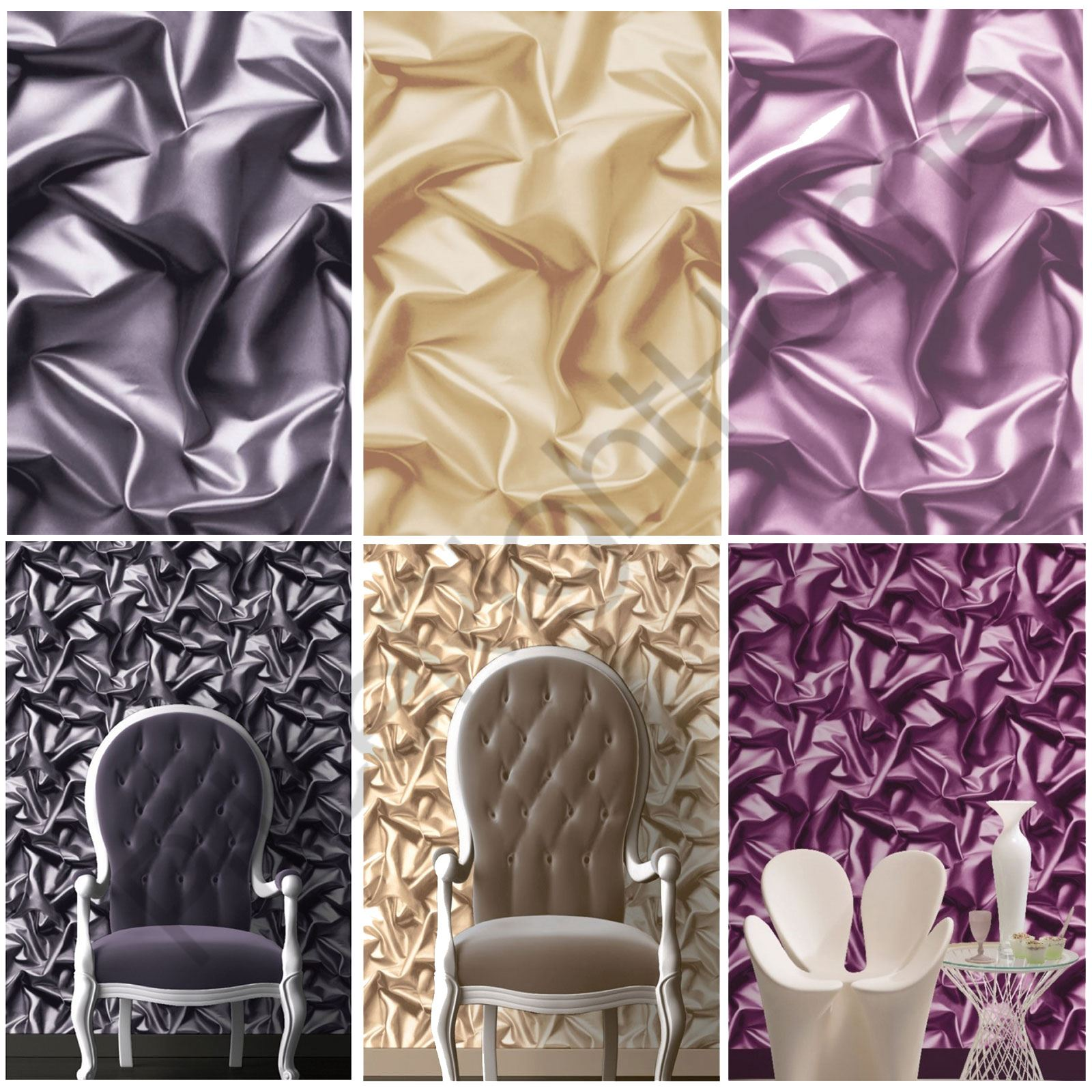 Muriva Silk Effect Wallpaper Gold Black Purple Feature