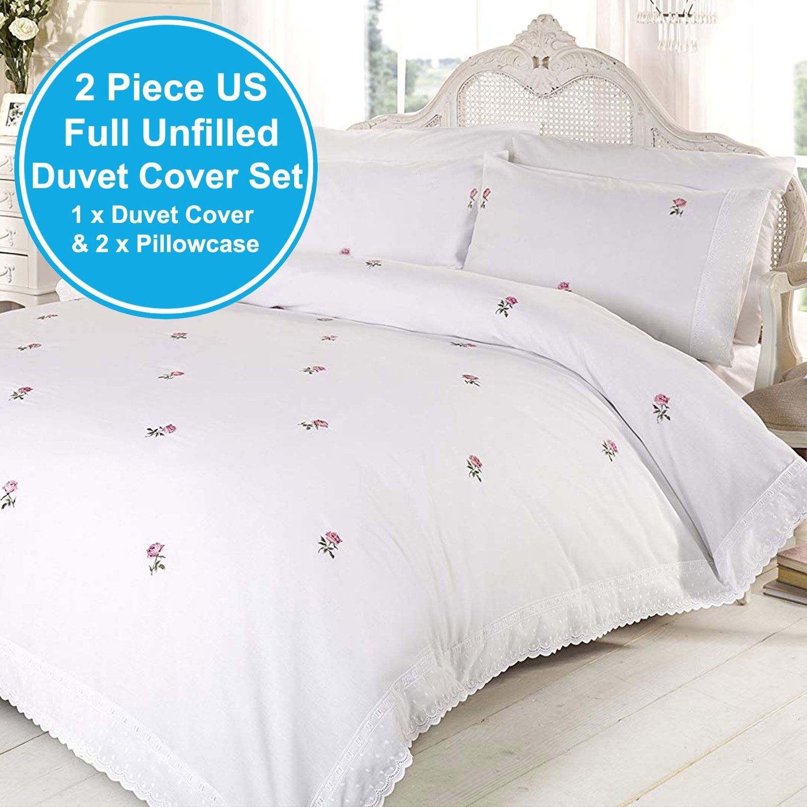 PINK SINGLE DUVET COVER SET EMBROIDERED BEDDING ALICIA FLORAL WHITE