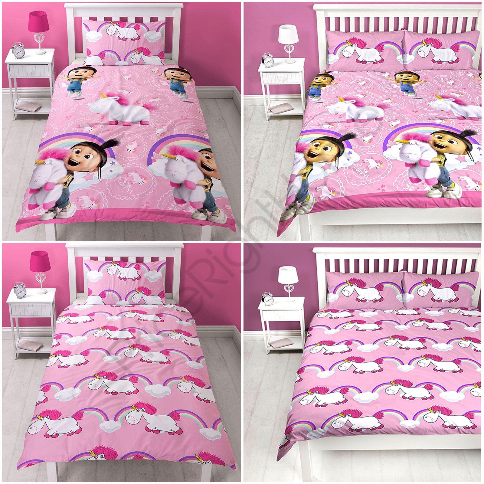 Despicable Me Fluffy Unicorn Duvet Cover Set Kids