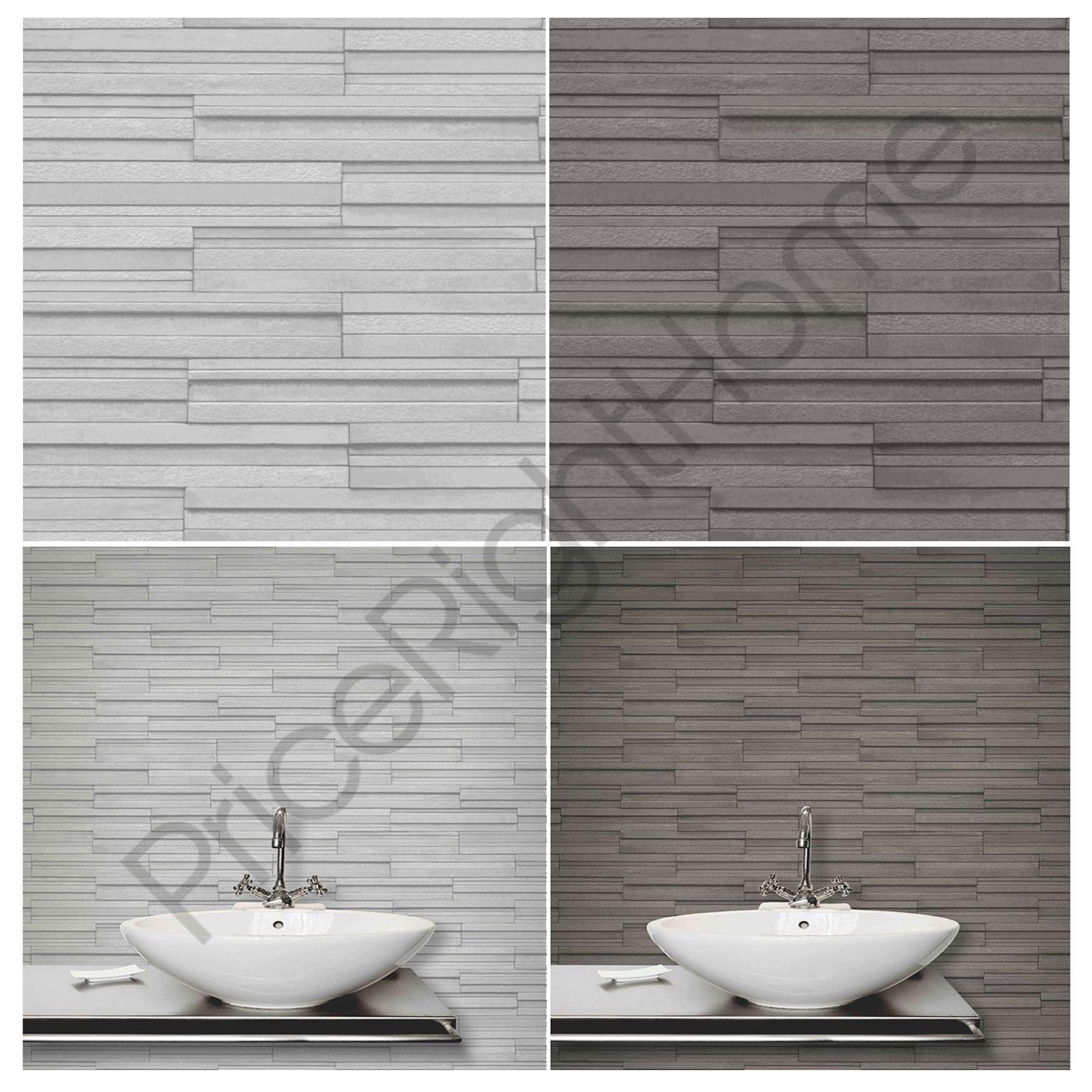 Fine Decor Slate Tile Wallpaper Grey Amp Charcoal Available
