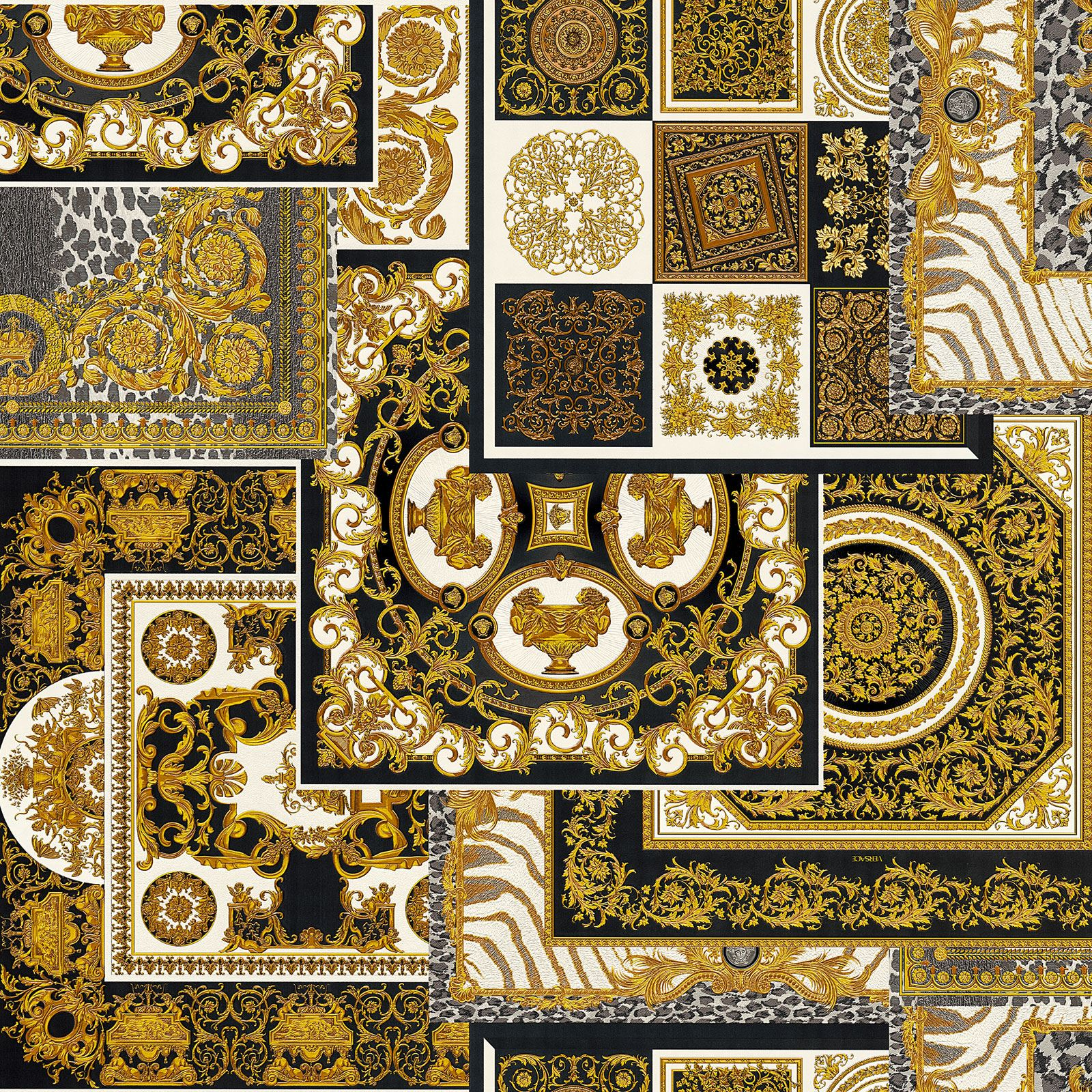 Versace Iv Decoupage Wallpaper 37048 3 Black Gold Acanthus Leaves