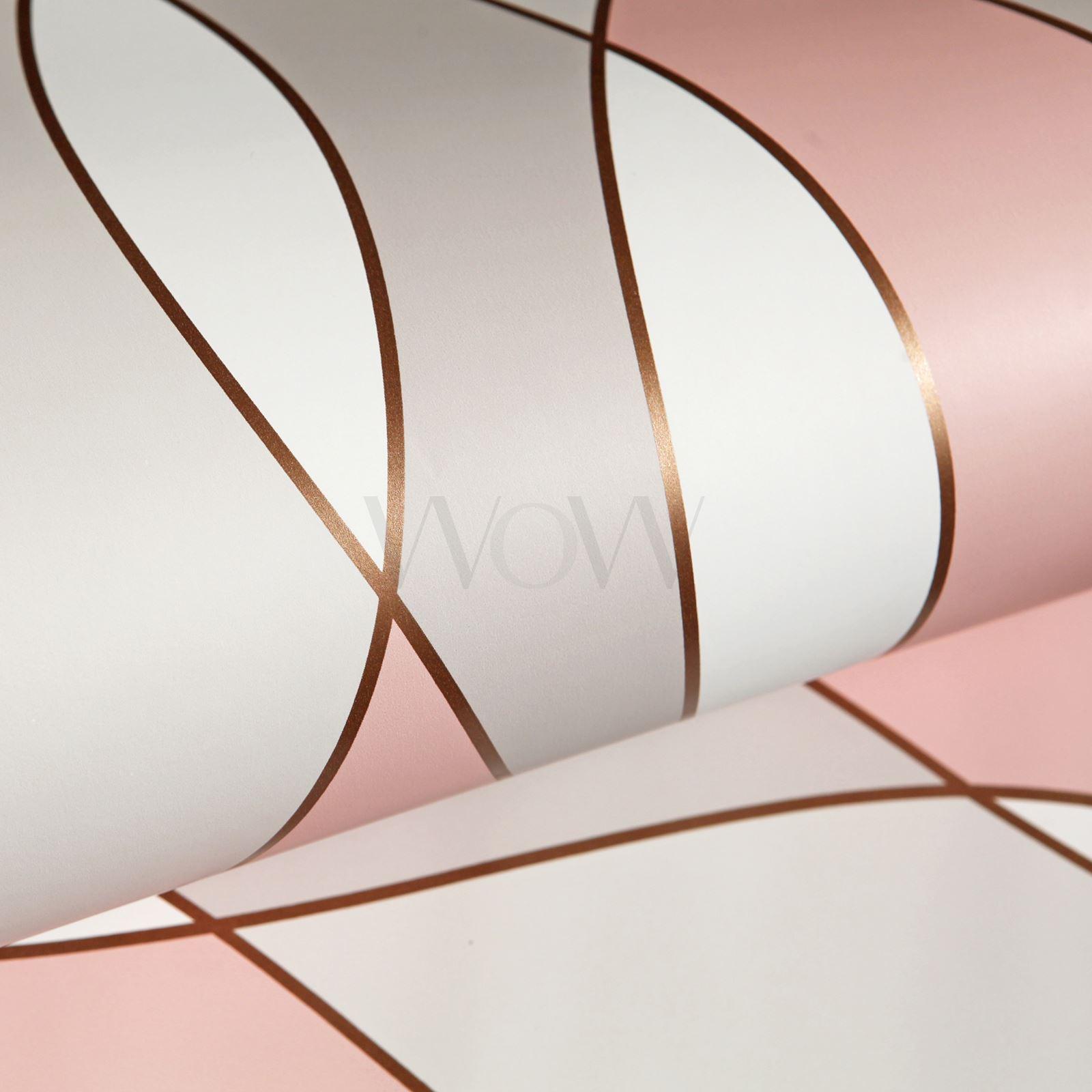 geometric wave wallpaper matte metallic glitter rose. Black Bedroom Furniture Sets. Home Design Ideas
