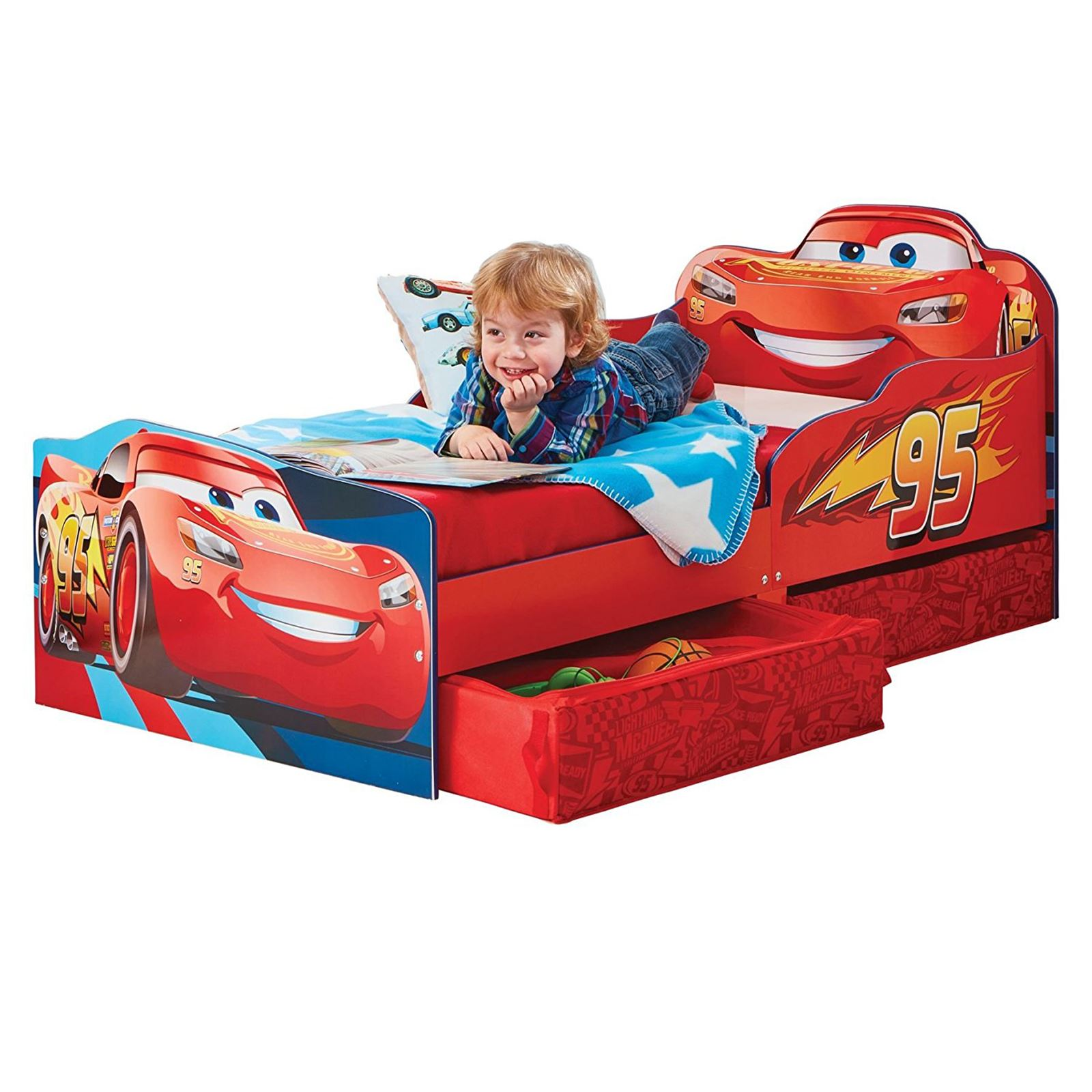 DISNEY CARS LIGHTNING MCQUEEN RED TODDLER BED WITH 2 DRAWERS FOAM MATTRESS