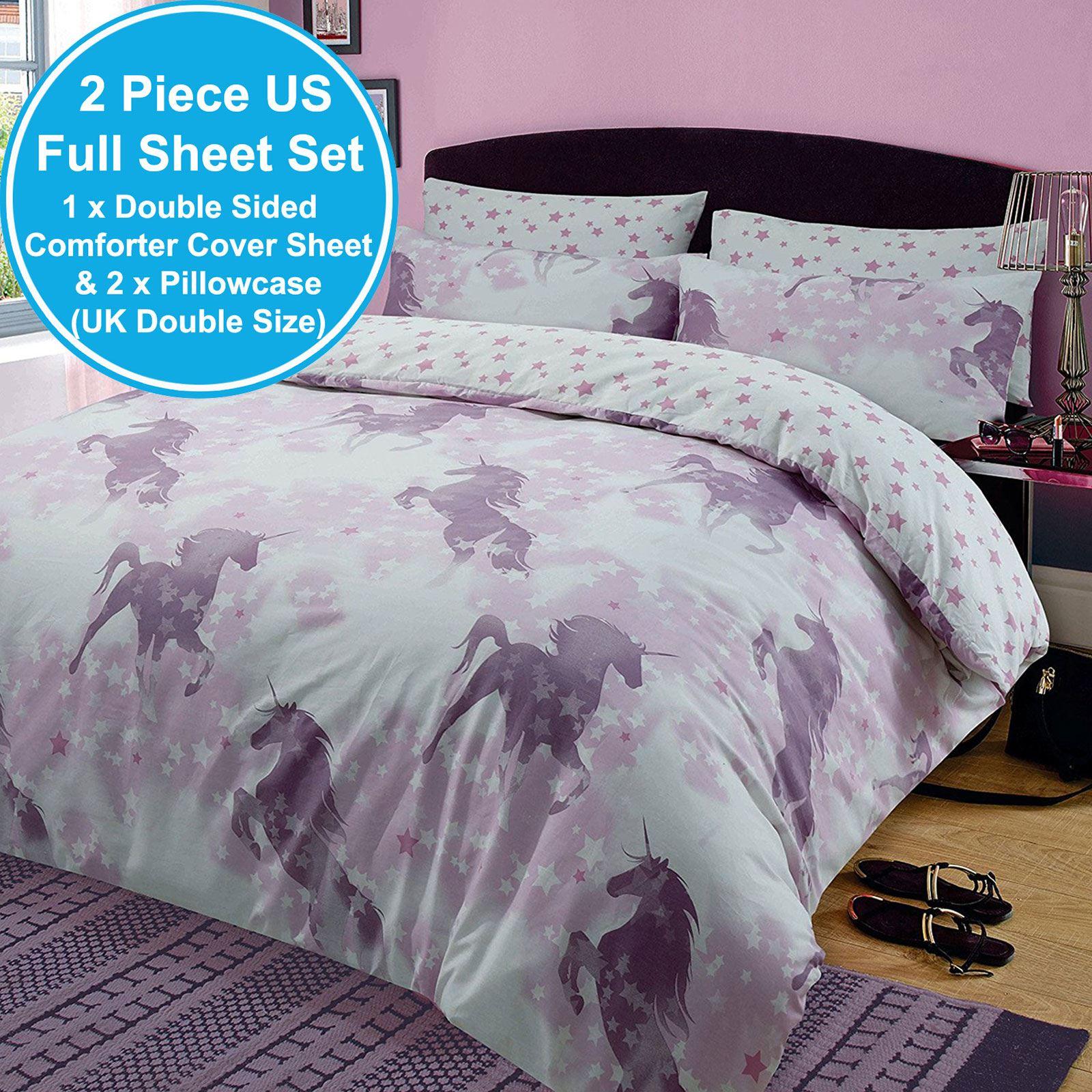 Unicorn Dreams Double Duvet Cover Set Reversible Bedding Kids