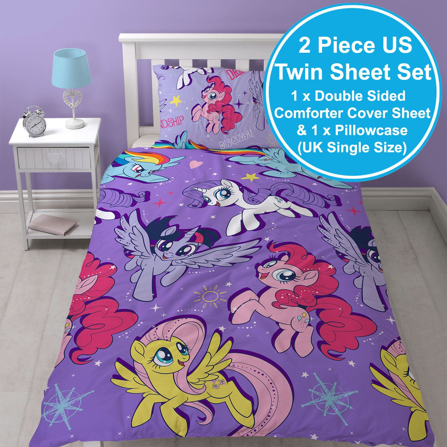 MY LITTLE PONY MOVIE SINGLE DUVET COVER SET REVERSIBLE ROTARY KIDS GIRLS