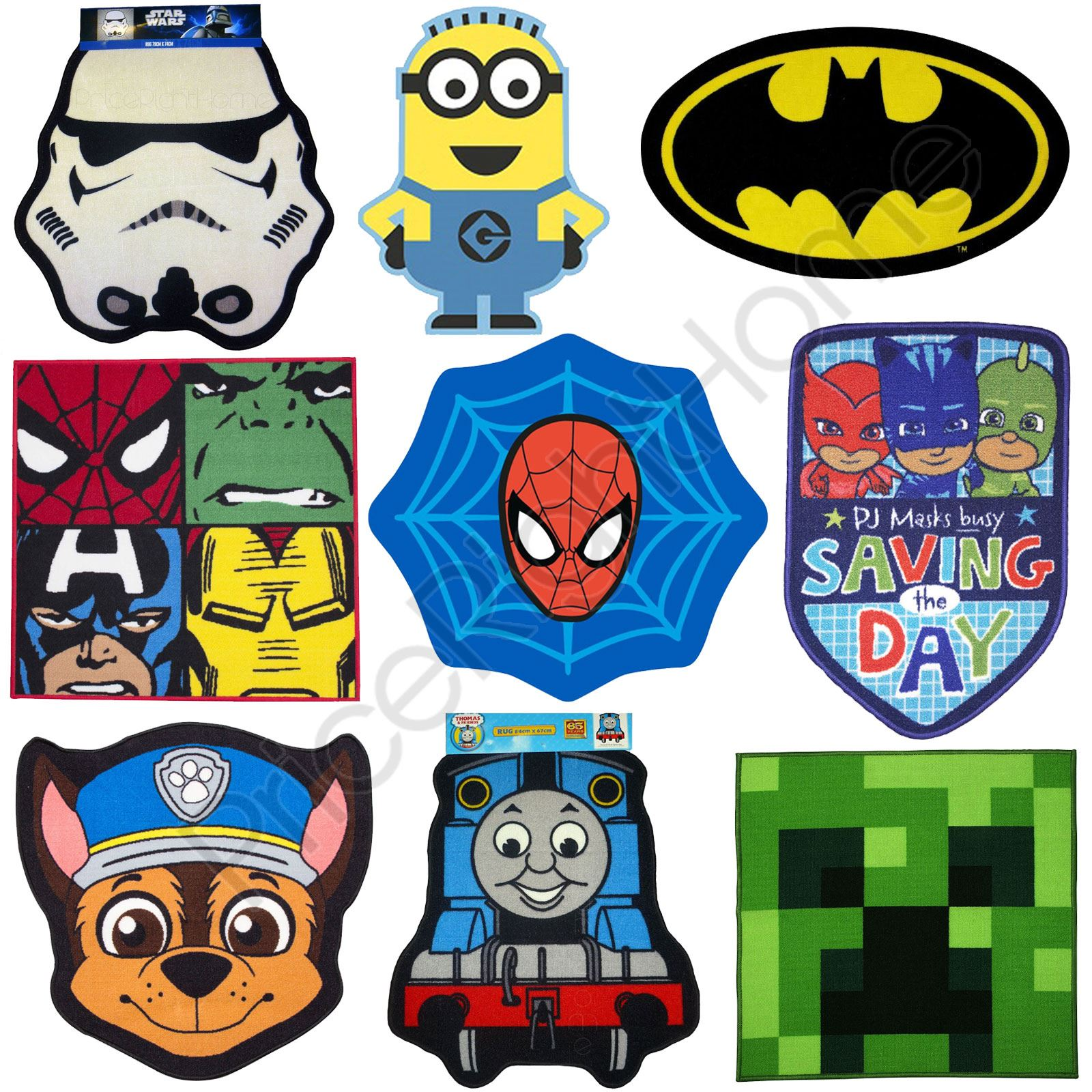 Boys bedroom character rugs star wars minions batman more 100 official
