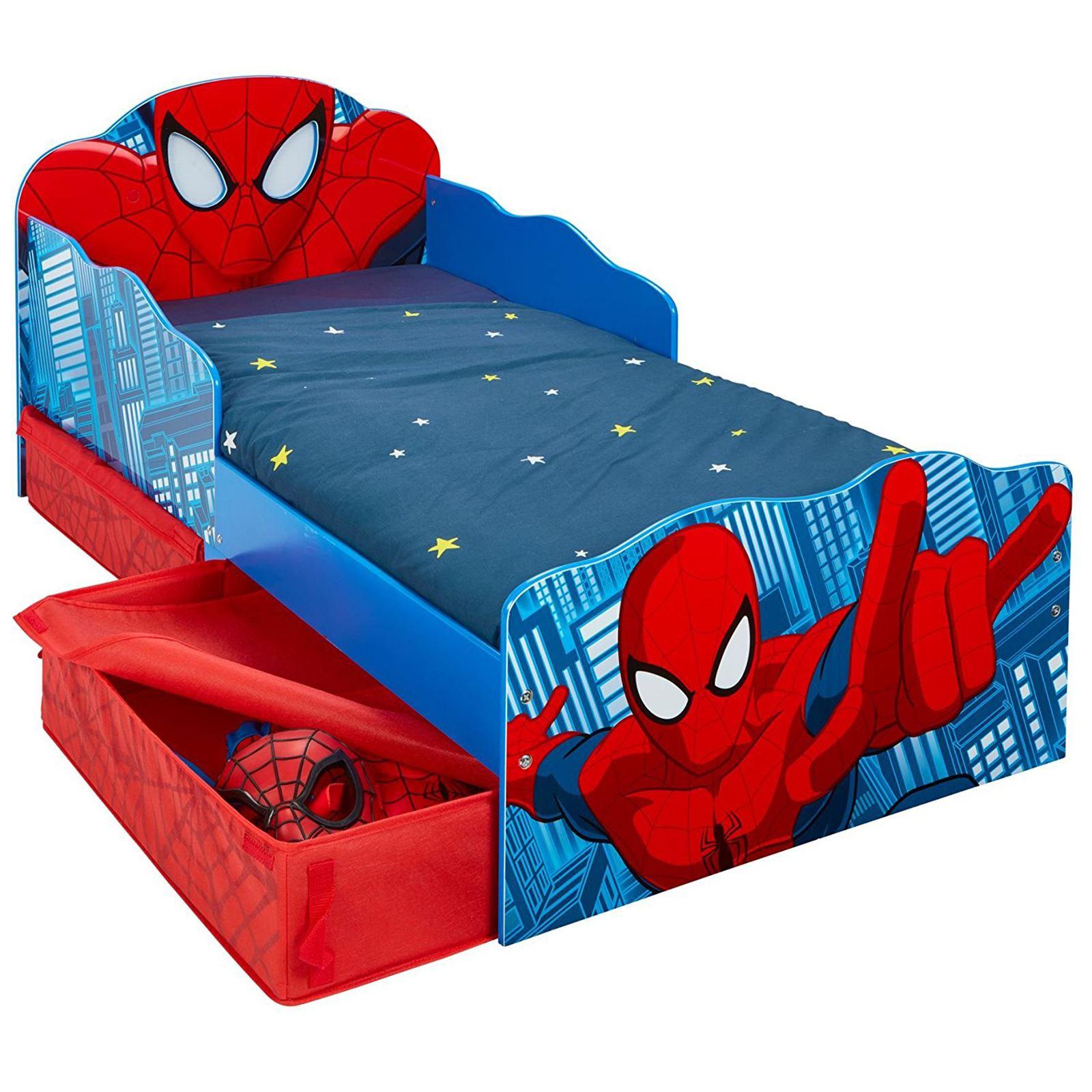 SPIDERMAN JUNIOR TODDLER BED WITH STORAGE LIGHT UP EYES ...