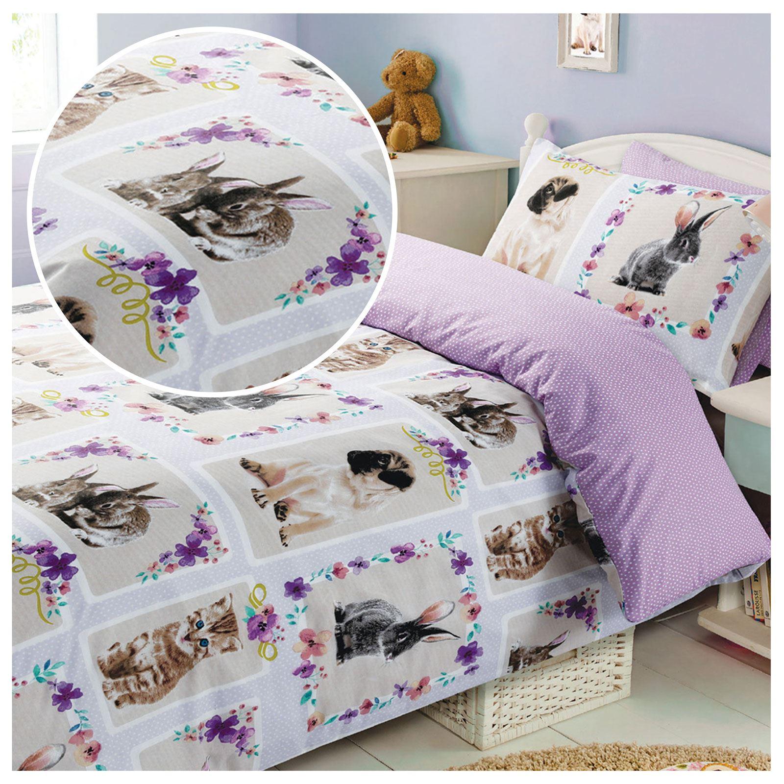 pet love duvet cover set kids bedding kittens rabbits. Black Bedroom Furniture Sets. Home Design Ideas