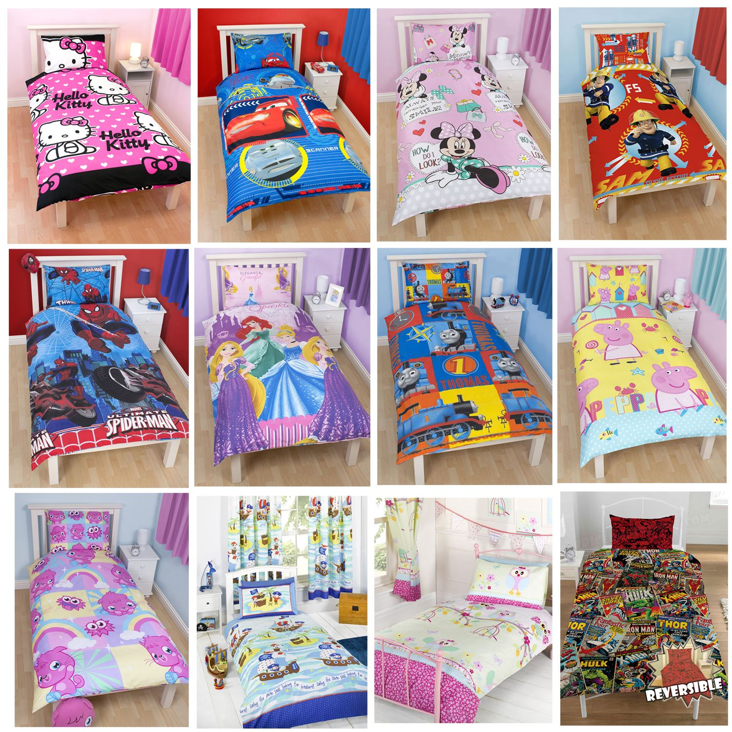 kids girls boys disney character single duvet cover sets princess nemo cars ebay. Black Bedroom Furniture Sets. Home Design Ideas