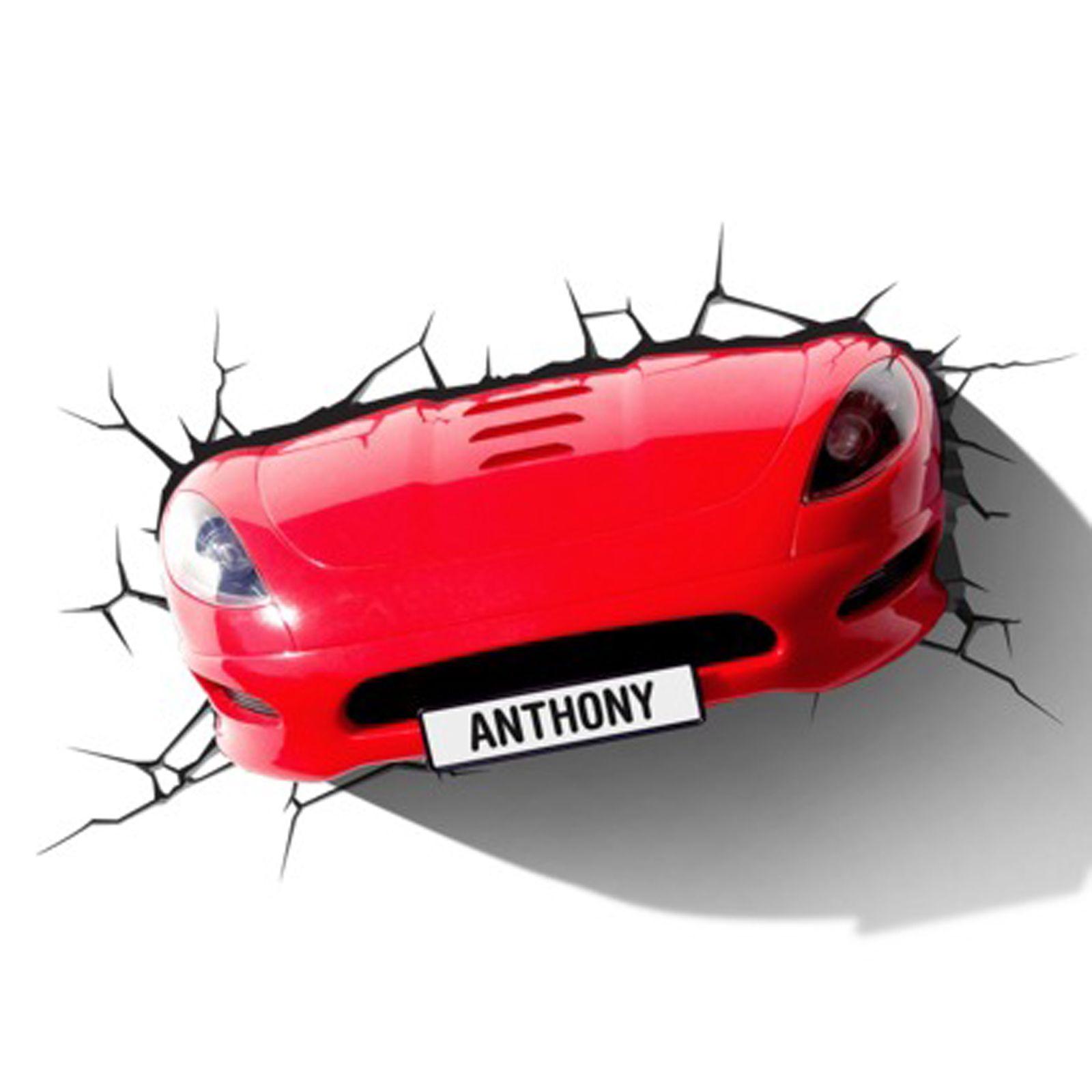 Rot Sportwagen 3D Effekt Wandleuchte Lampe Neue LED