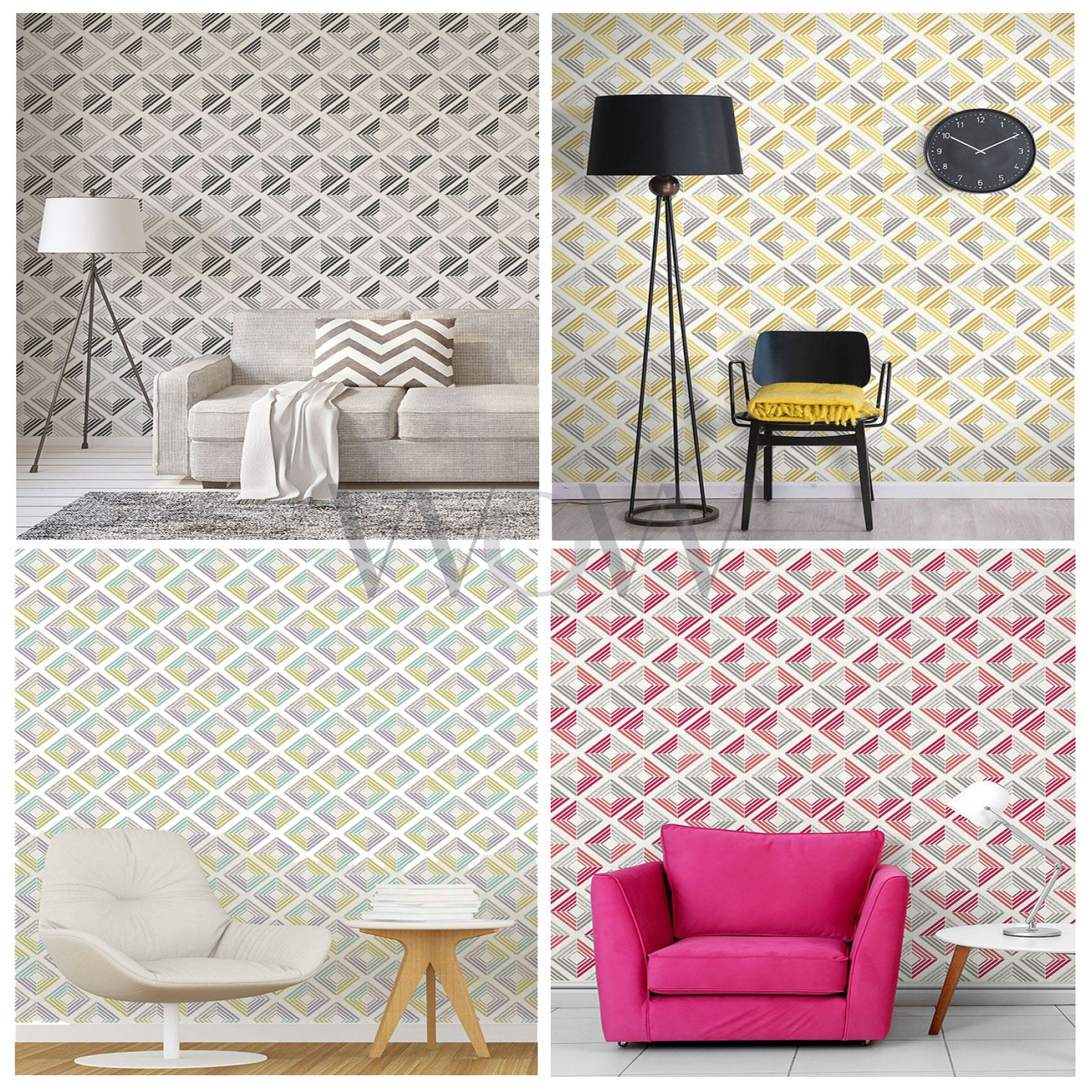 COLOROLL ECHO GEOMETRIC WALLPAPER CHARCOAL CORAL FEATURE WALL DECOR