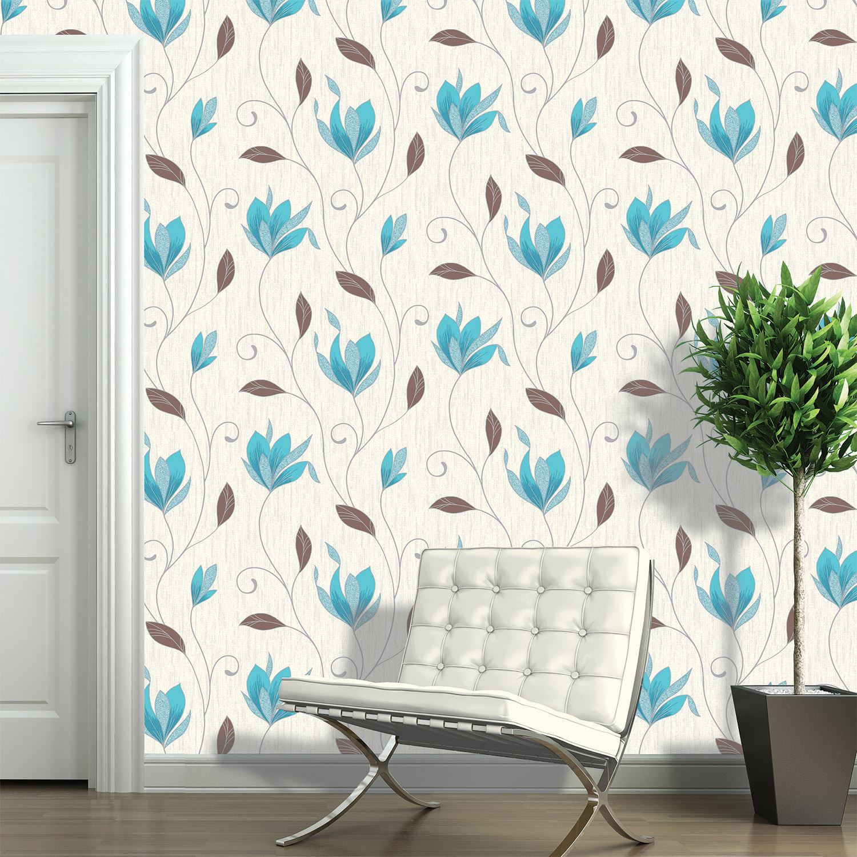 Vymura Synergy Teal Amp Plain Wallpaper Stripe Floral