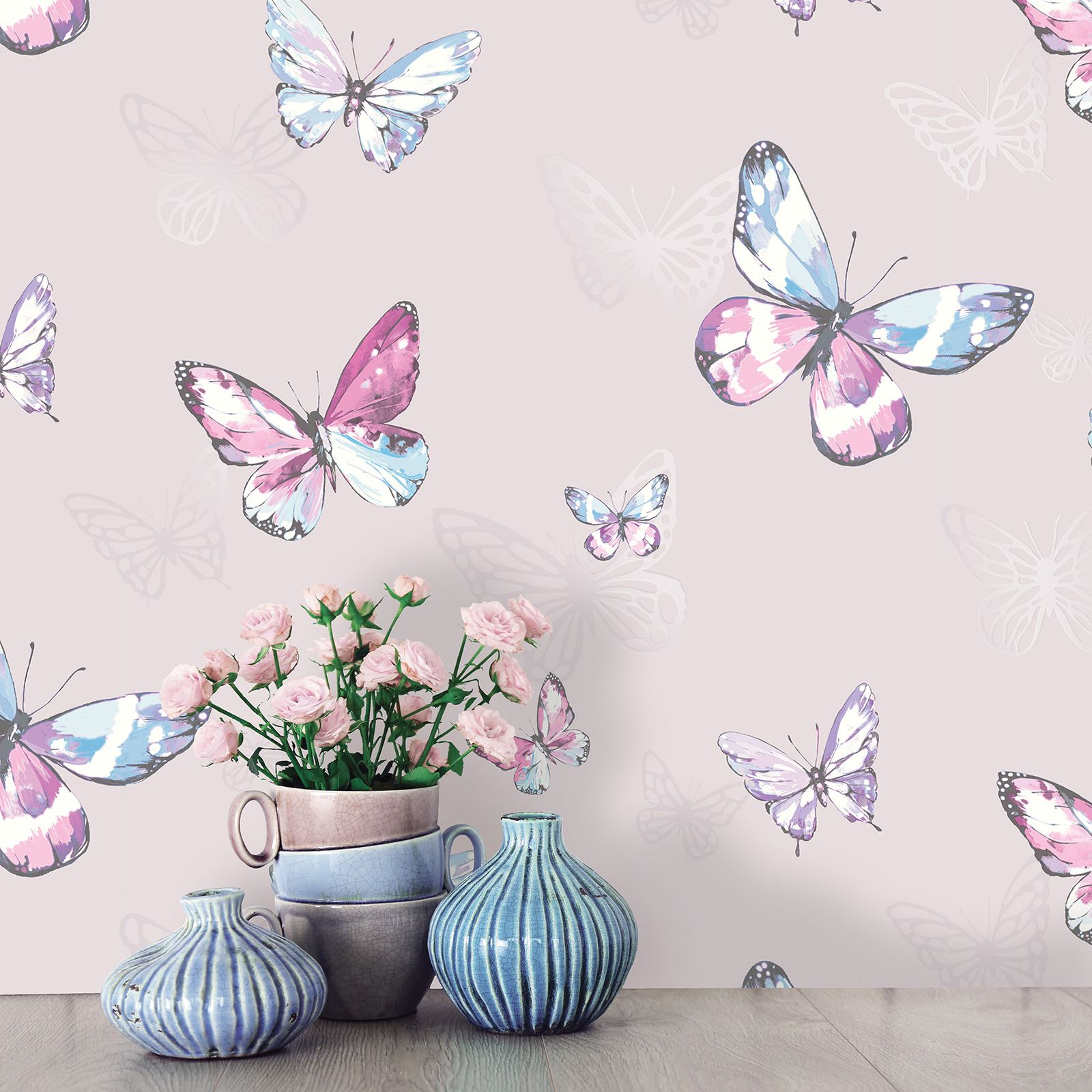 Sleigh Bedroom Sets King Bedroom Jpg Simple Bedroom Colour Design Bedroom Accessories Uk: GIRLS BEDROOM BUTTERFLY WALLPAPER IN PINK, WHITE, TEAL
