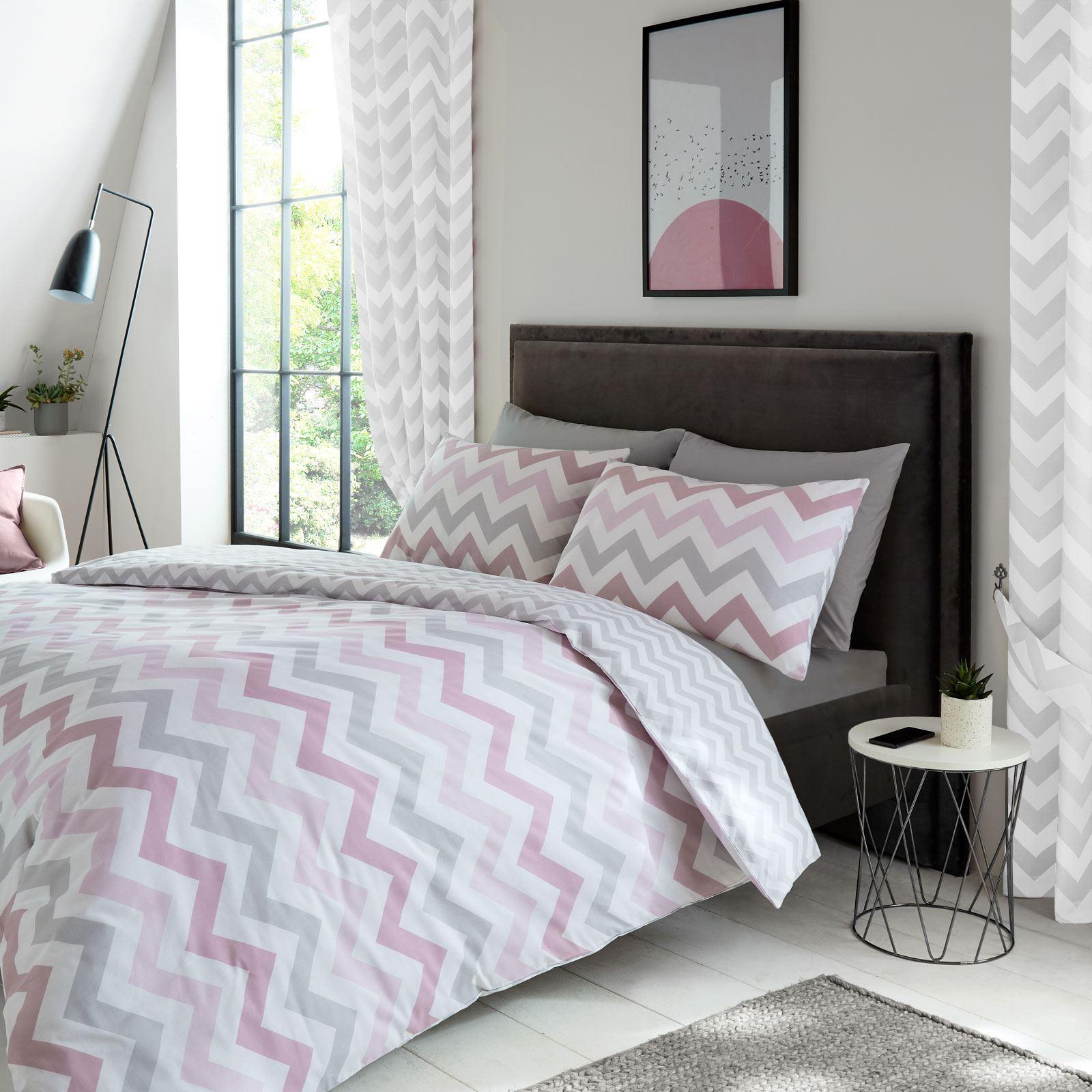 Metro Geometric Chevron Grey White Lined Curtains Bedroom