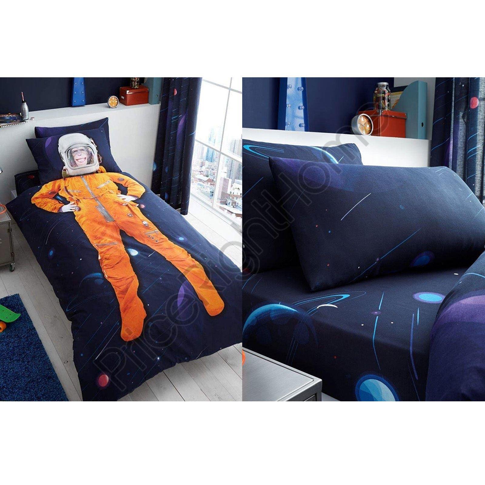 Indexbild 5 - SPACE CHIMP BEDDING - SINGLE DUVET, FITTED SHEET KIDS BEDROOM ASTRONAUT