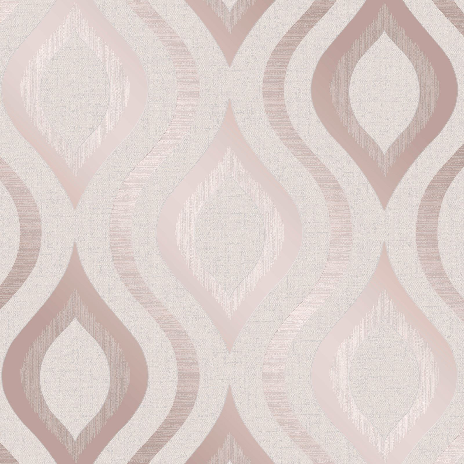 QUARTZ GEOMETRIC WALLPAPER ROSE GOLD - FINE DECOR FD42206 GLITTER METALLIC