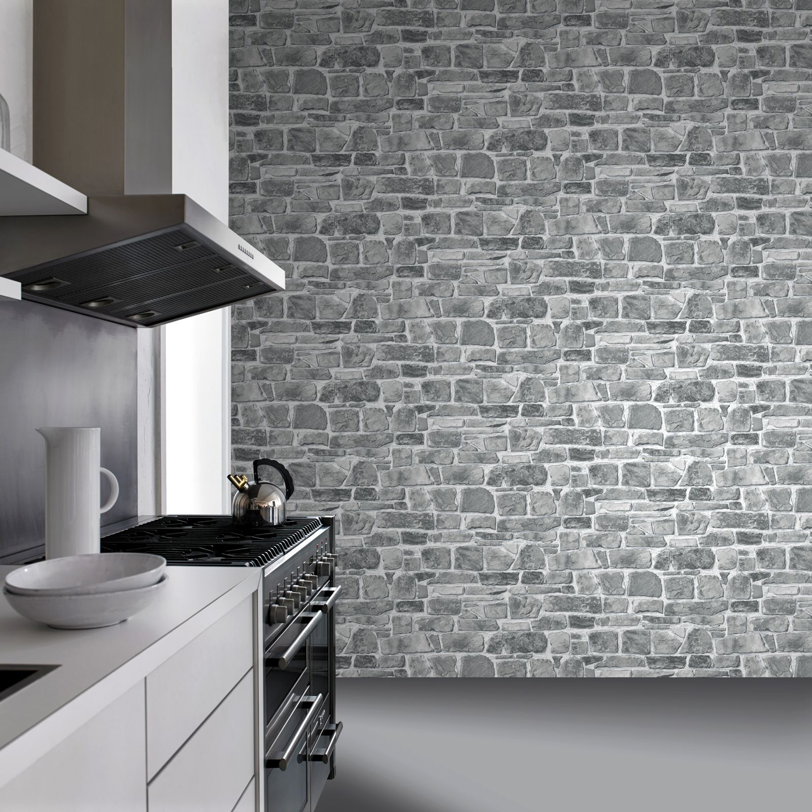 Grey brick effect wallpaper suitable for any room ebay for Grey feature wallpaper bedroom