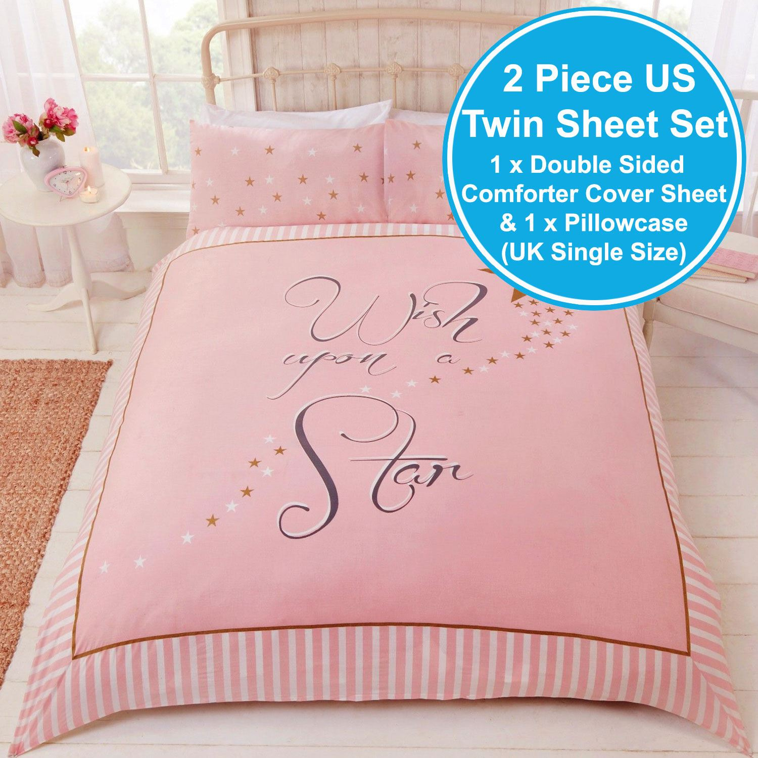 Wish Upon A Star Single Duvet Cover Set Pink Gold Stars