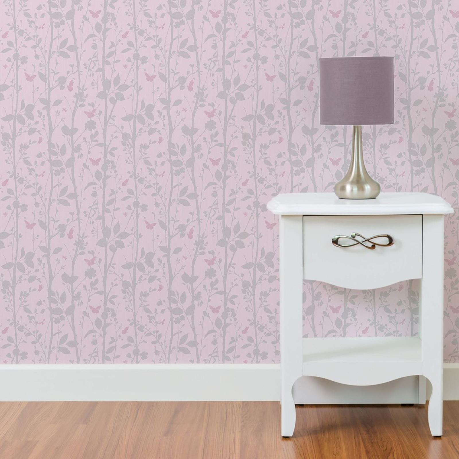 DAZZLE TREES   BUTTERFLIES PINK SILVER GLITTER WALLPAPER BEDROOM WALL DECOR  NEW. DAZZLE TREES  amp  BUTTERFLIES PINK SILVER GLITTER WALLPAPER