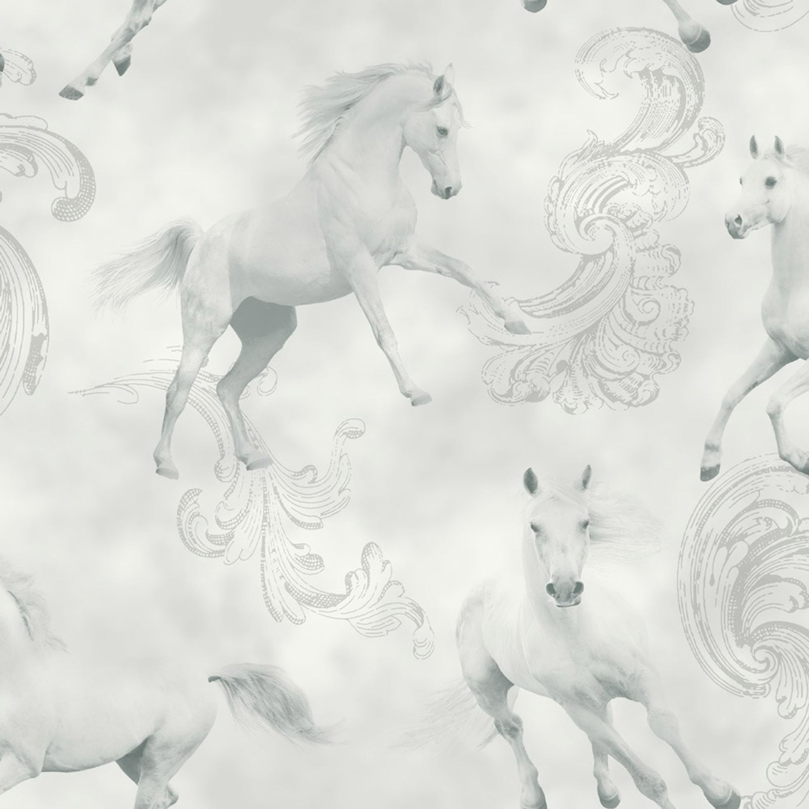 Carmarillo Horse Pattern Silver Glitter Childrens Wallpaper 667300