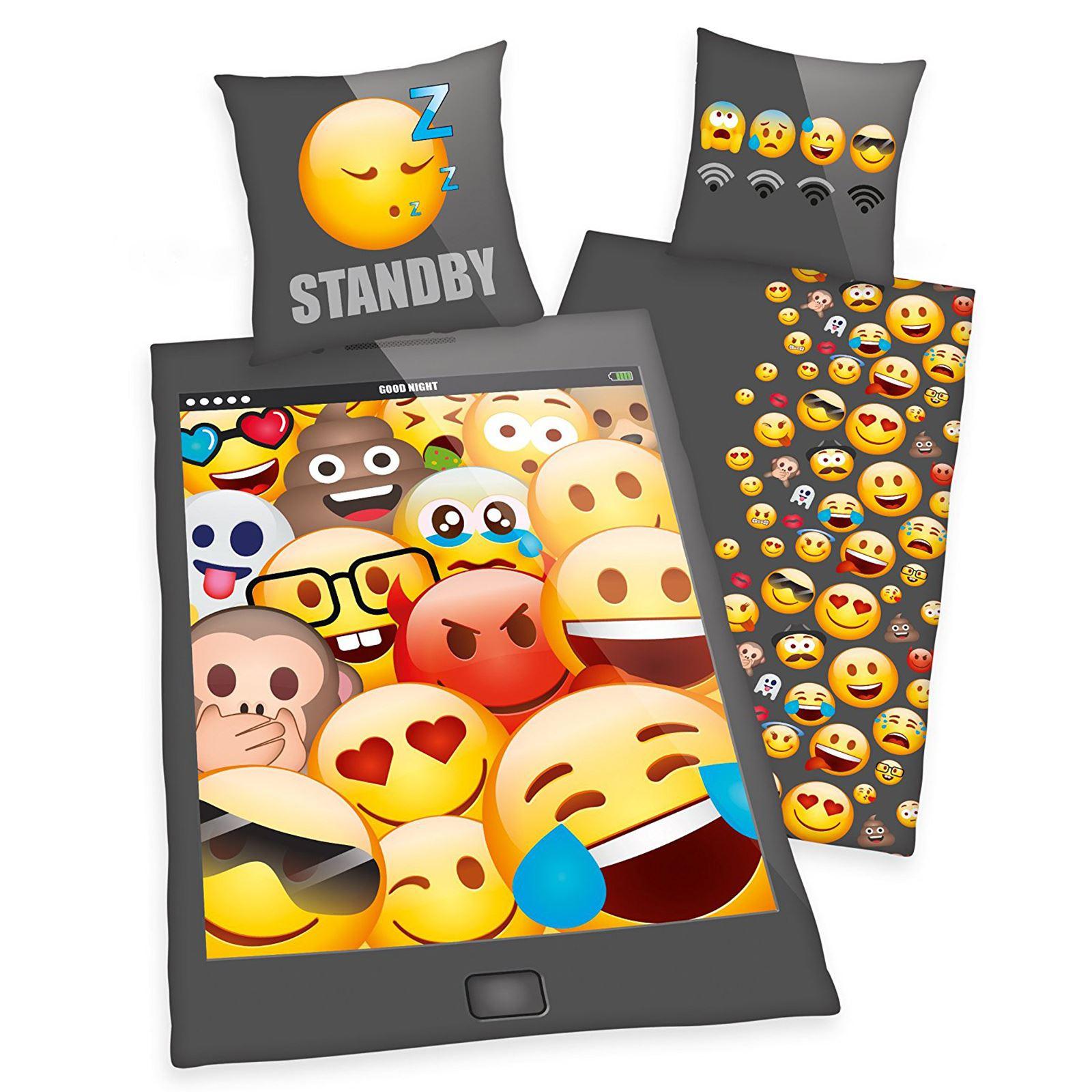 Student-Ado-Unique-amp-Double-Housse-de-couette-ensembles-garcons-filles-Emoji-Skulls-amp-plus