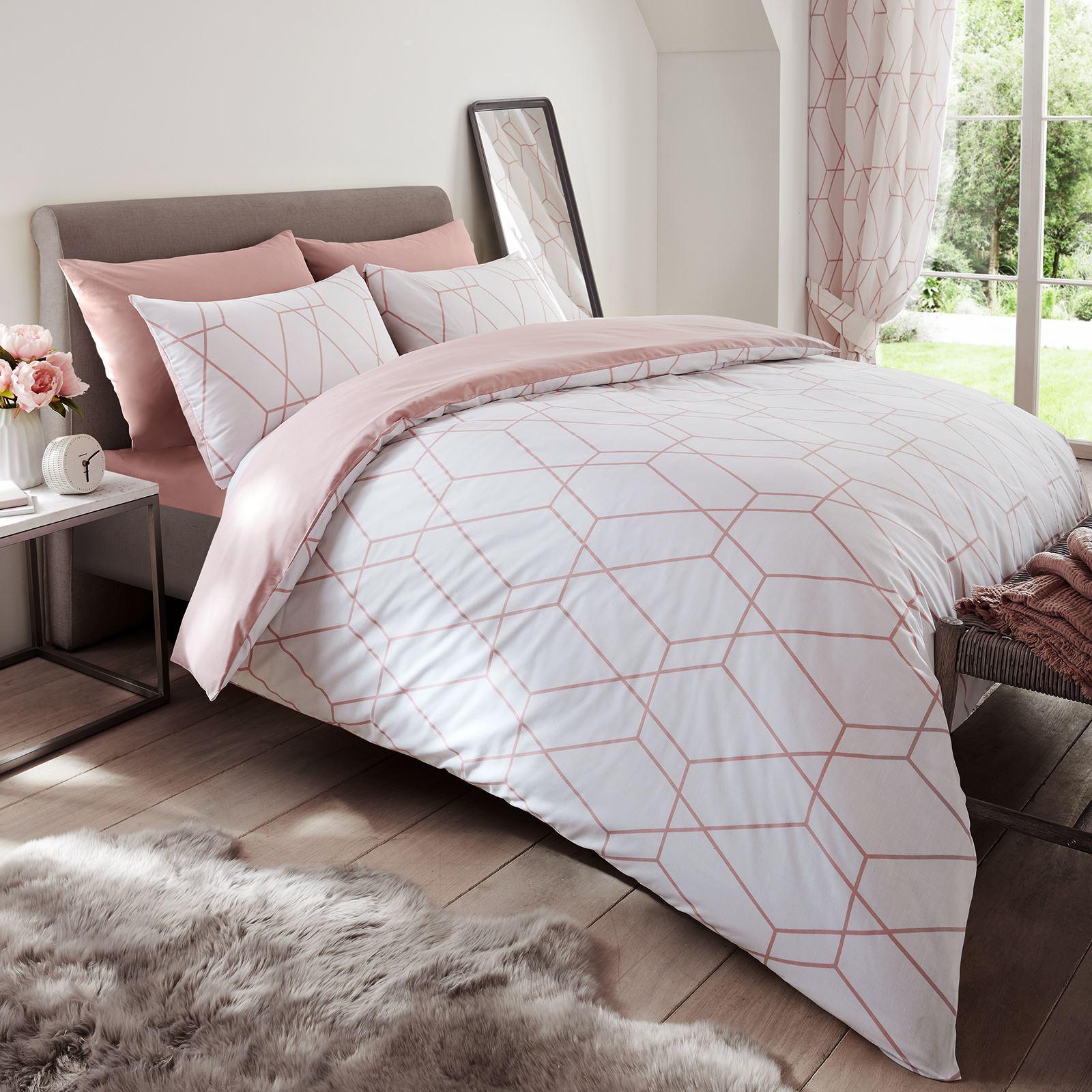 Blush Pink Metro Geometric Diamond Double Duvet Cover Pillowcase