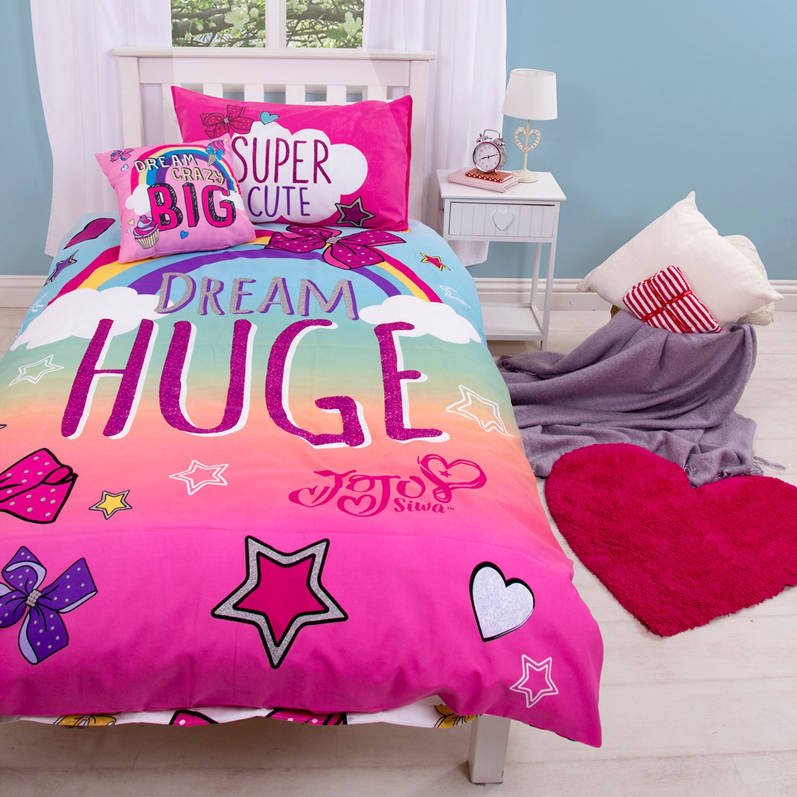 Jojo Siwa Bows Rainbow Single Duvet Cover Set Kids Bedding