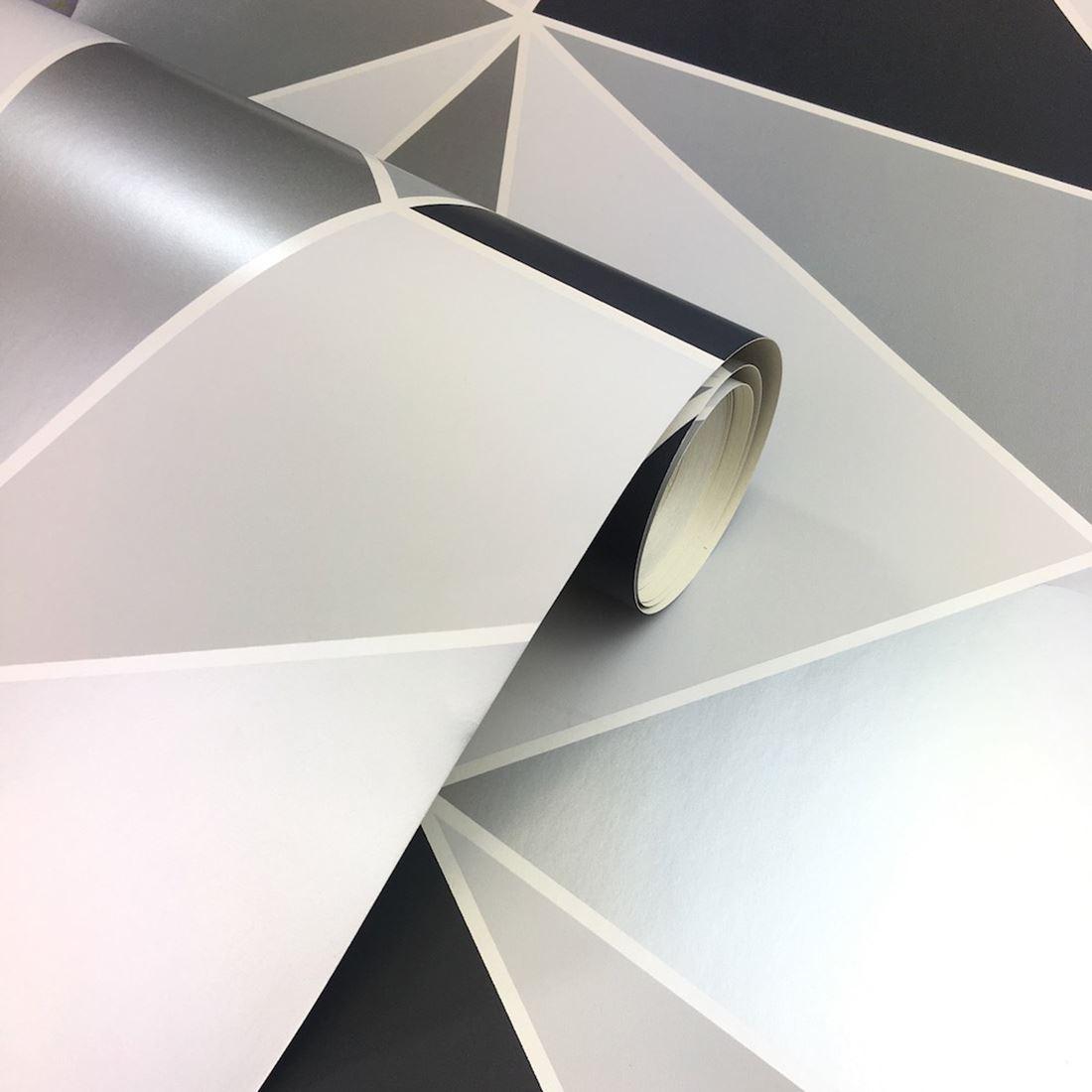 apex geometrische tapeten schwarz silber feine dekor. Black Bedroom Furniture Sets. Home Design Ideas