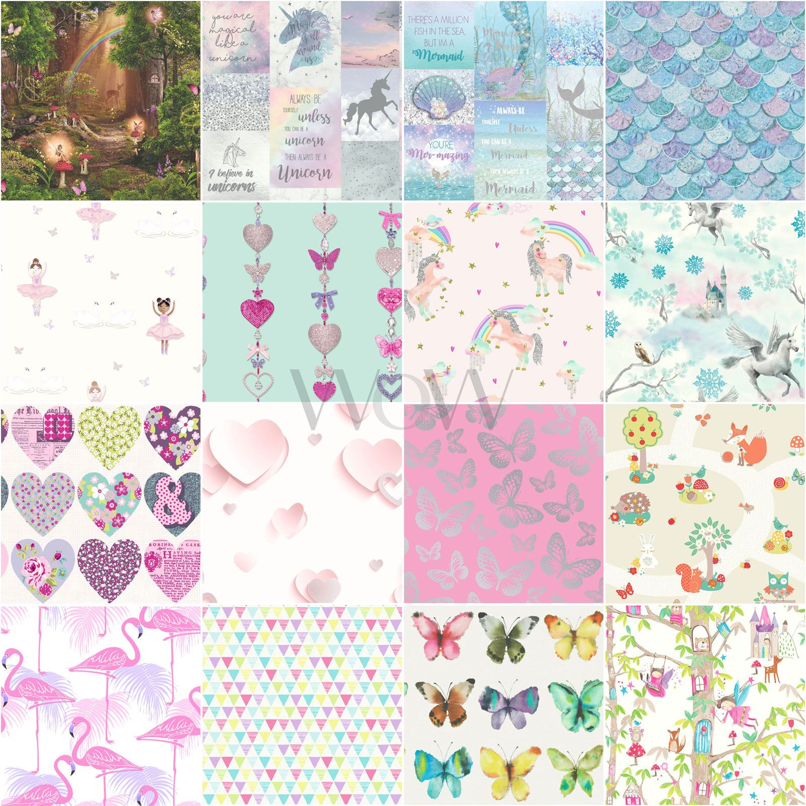 Girls Kids Wallpaper Flamingo Unicorn Hearts Mermaid Llama