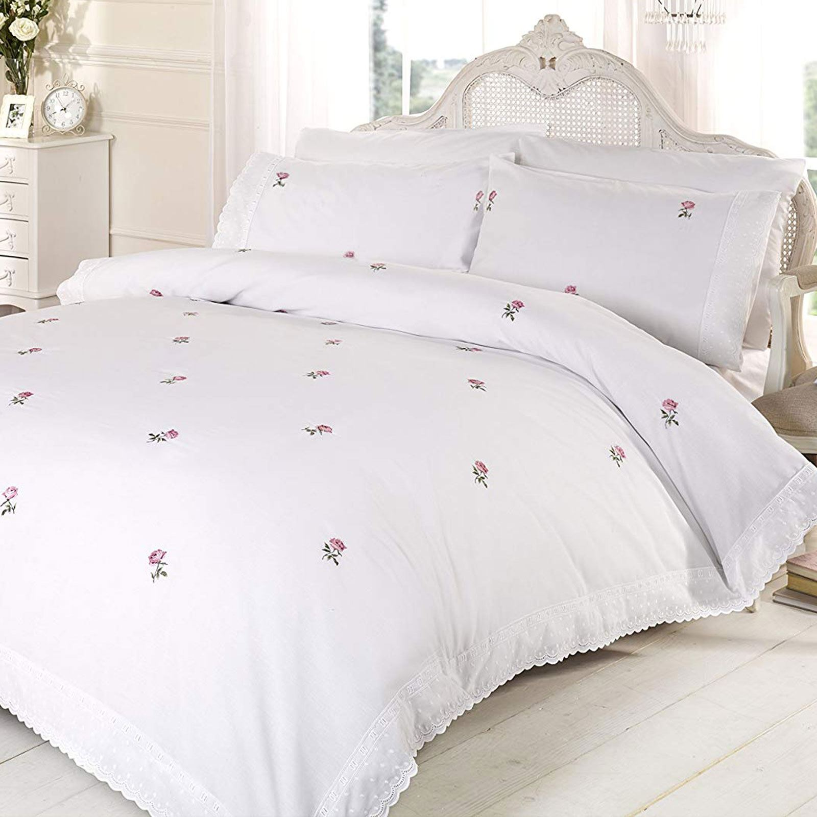 Alicia Floral White Pink King Size Duvet Cover Set