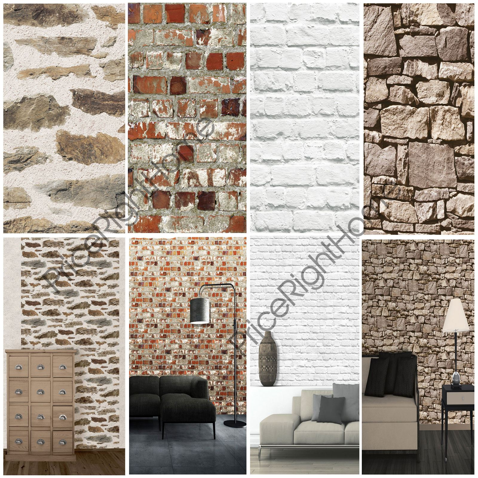 Muriva brick effect wallpaper various colours available for Feature wall wallpaper