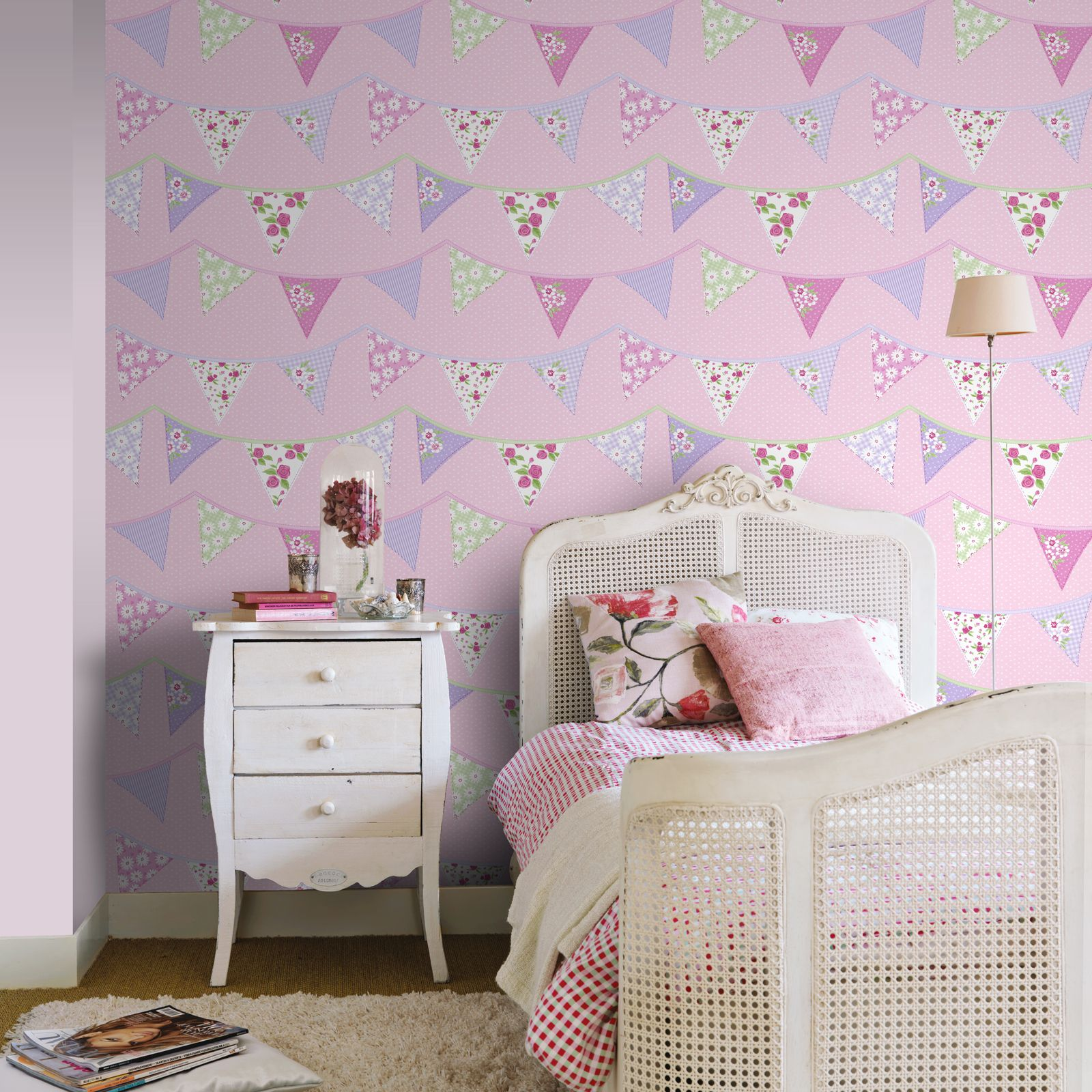 fahnentuch tapete blau rosa pastell blumen design waschbar m dchen schlafzimmer ebay. Black Bedroom Furniture Sets. Home Design Ideas