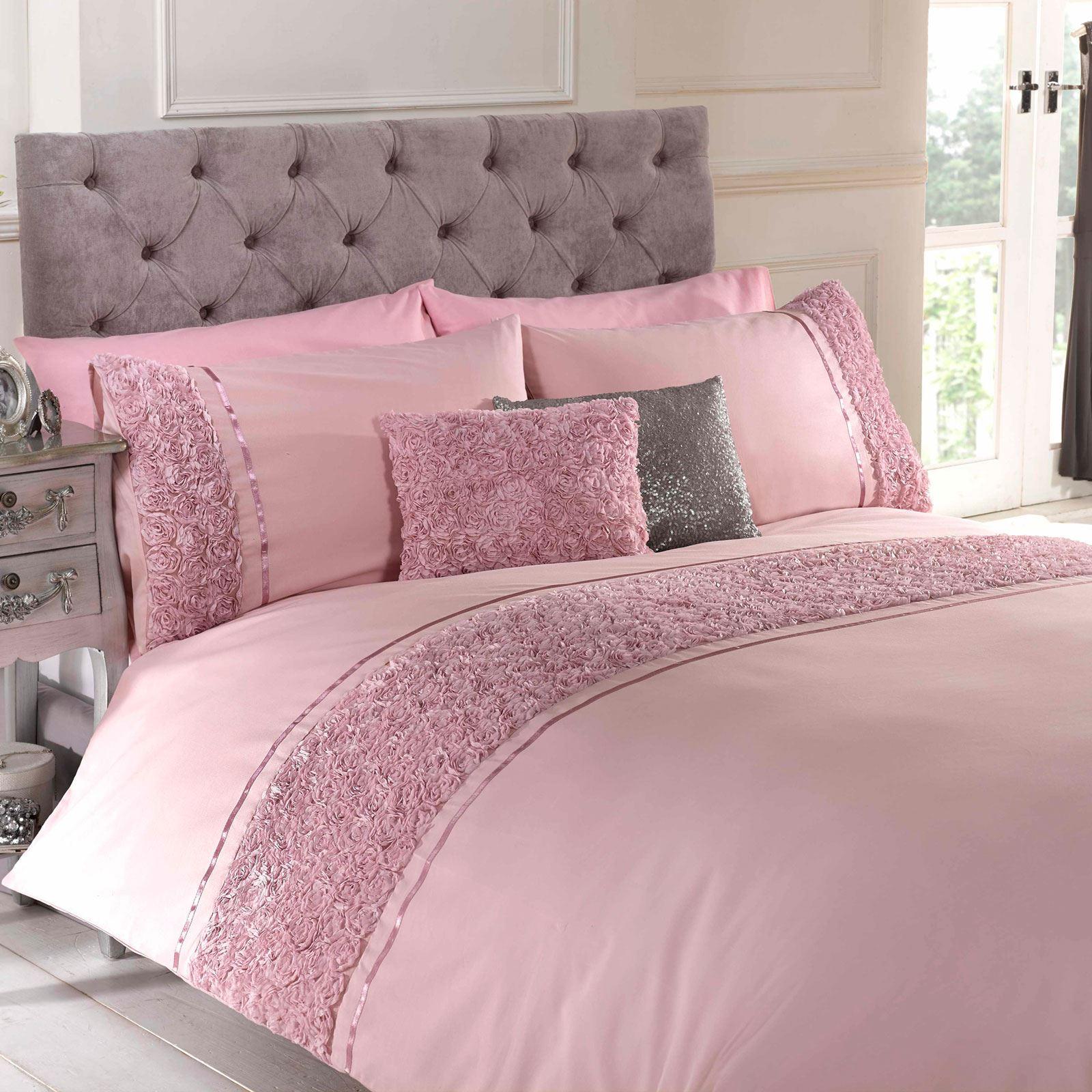 Limoges Rose Ruffle Blush Pink King Size Duvet Cover Set