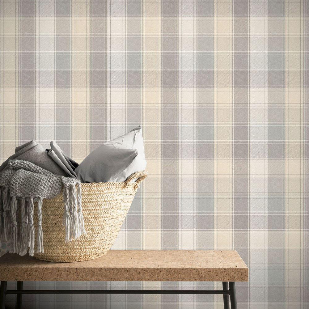 Carta Da Parati Tessuto dettagli su arthouse paese quadri parati tartan tessuto effetto righe  colori pastello