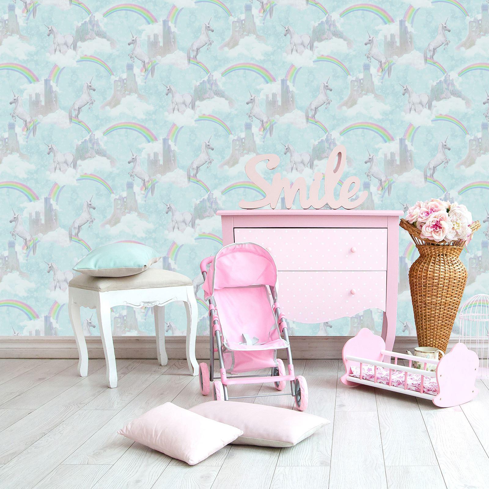 Arthouse Glitter Detail Kids Girls Bedroom Wallpaper: UNICORNS HORSES WALLPAPER KIDS GIRLS BEDROOM