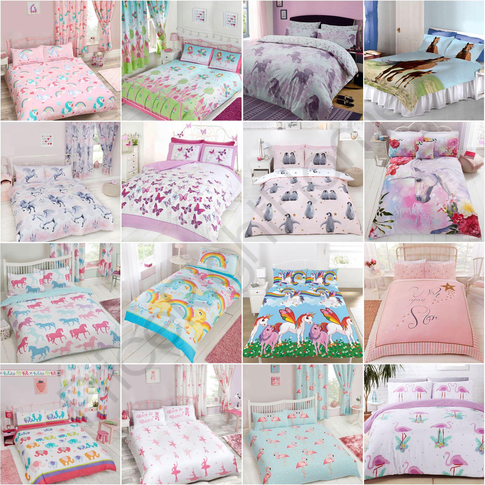 Girls Double Duvet Cover Sets  Unicorns, Butterflies, Owls, Pug,